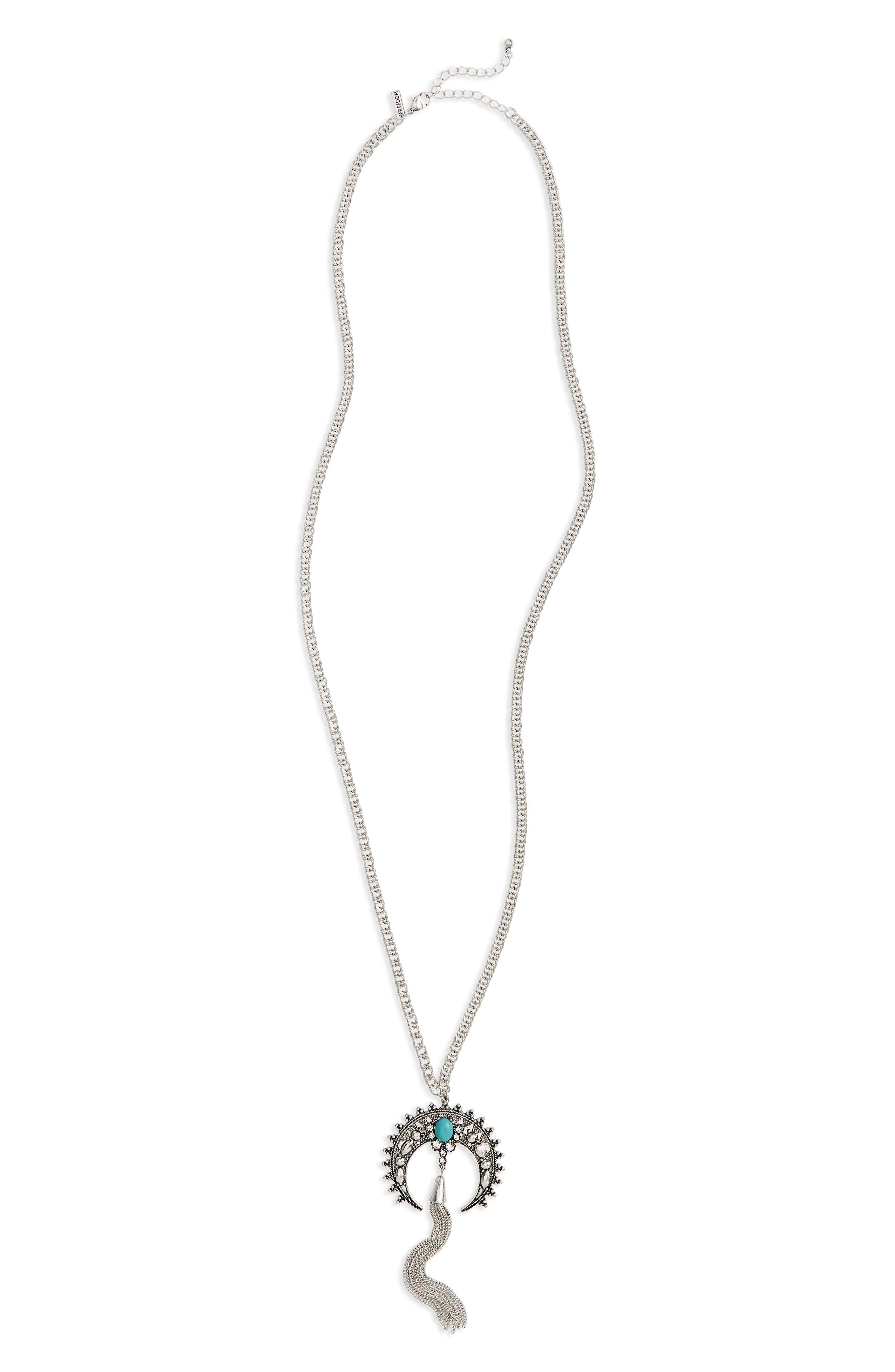 Topshop Turquiose Horn Tassel Necklace