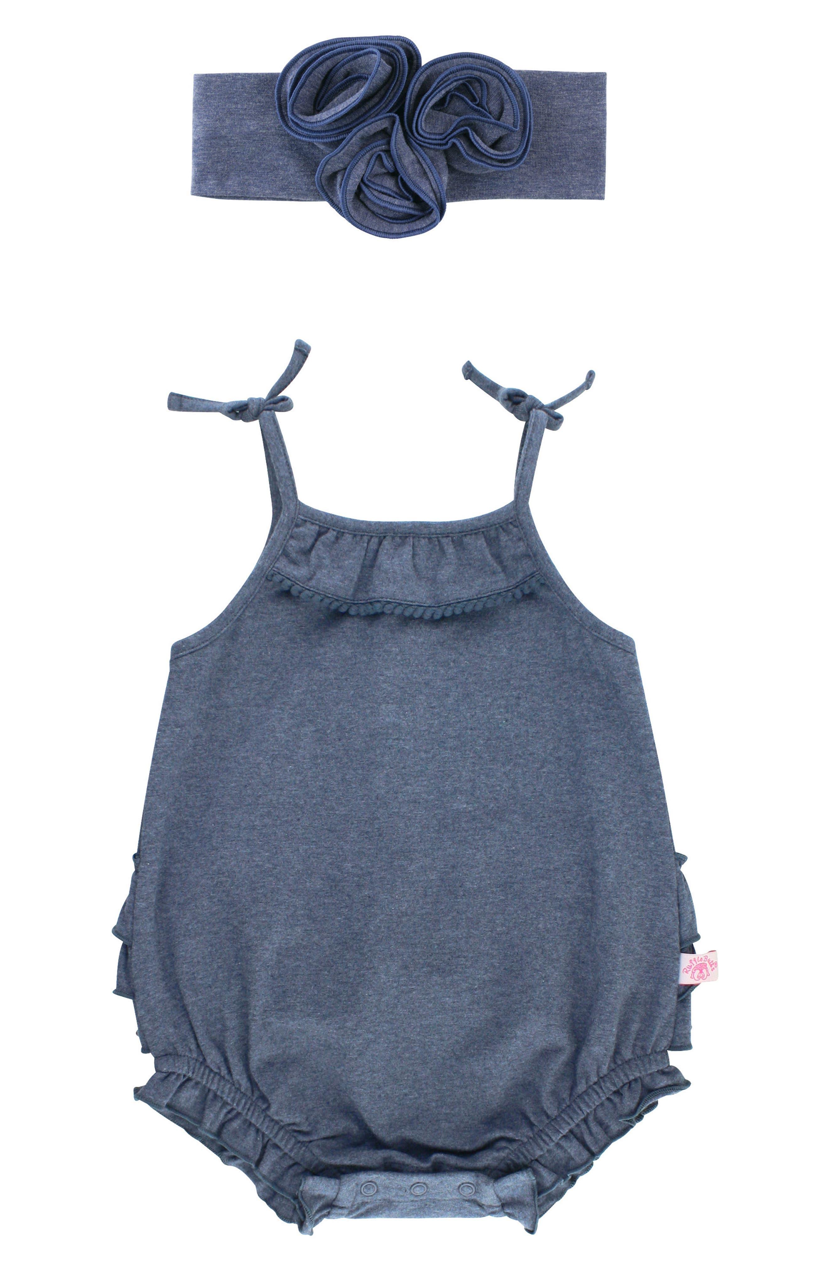 Main Image - RuffleButts Denim Look Bubble Romper & Head Wrap Set (Baby Girls)