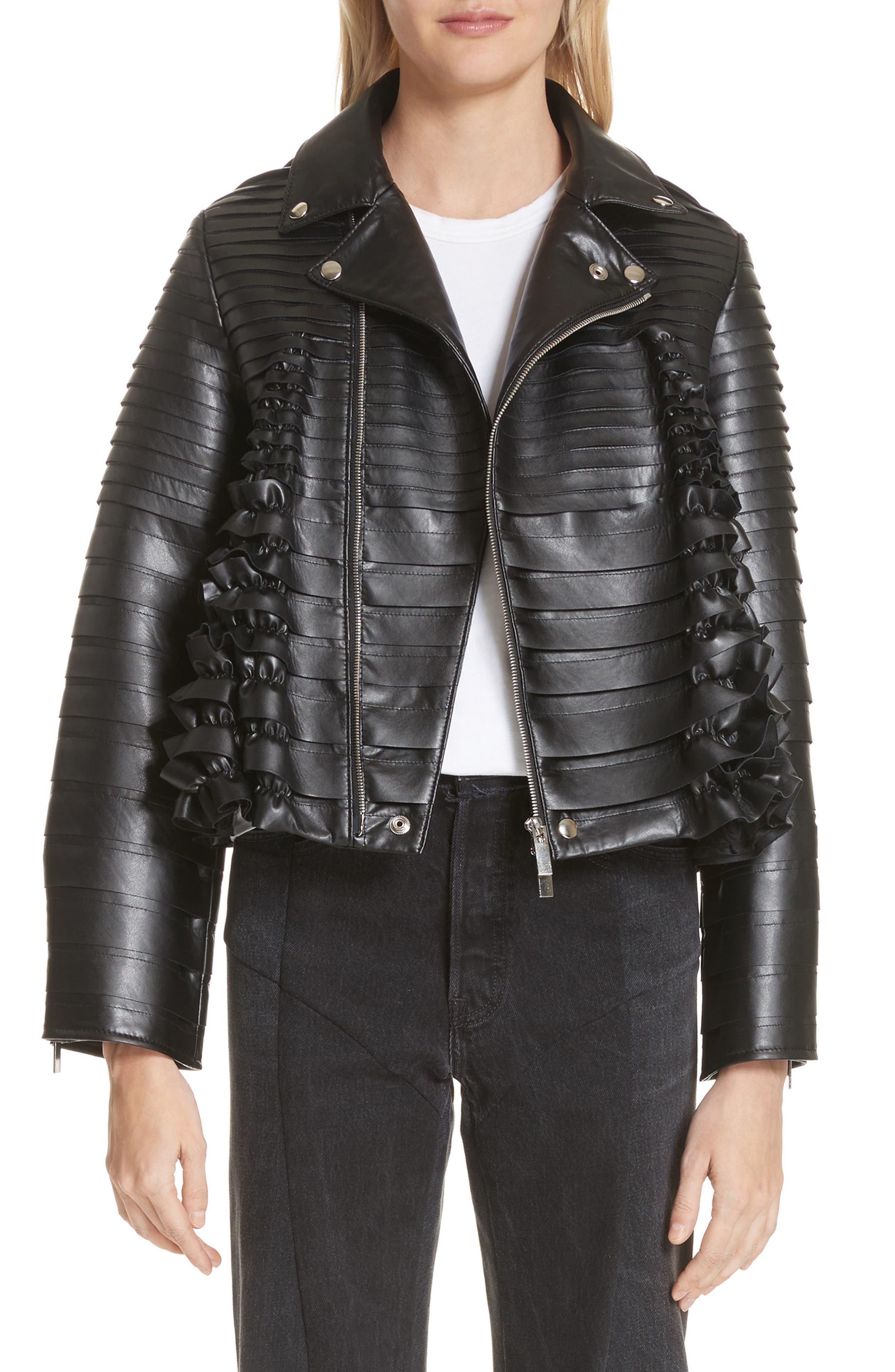 Ribbon Faux Leather Jacket,                         Main,                         color, Black