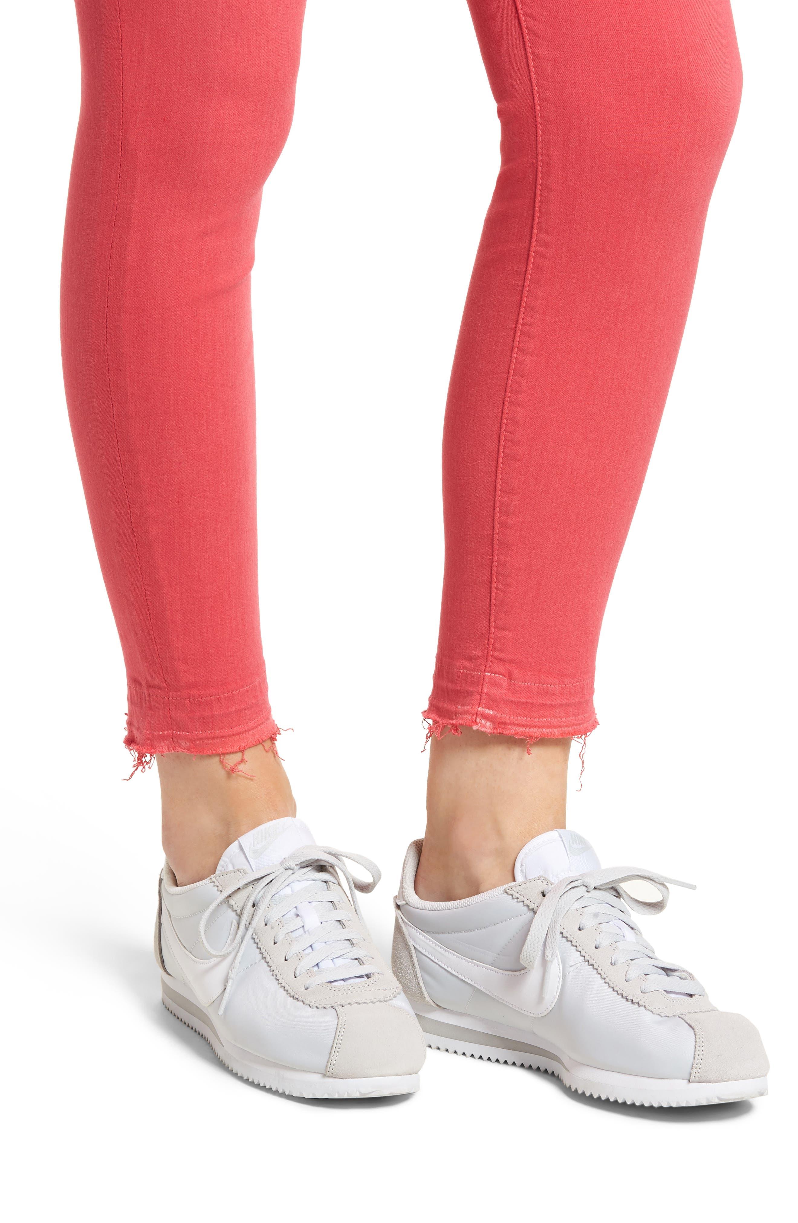 Released Hem Ankle Skinny Jeans,                             Alternate thumbnail 4, color,                             Cherry Ice