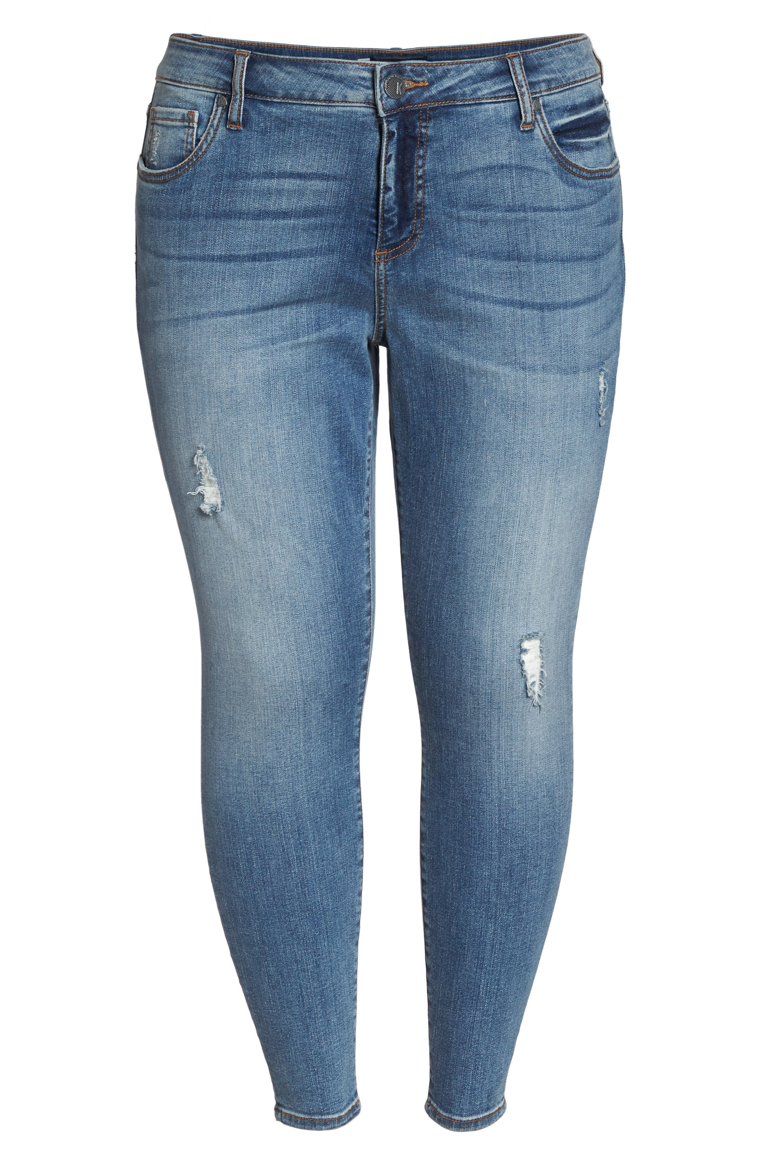 Donna High Waist Ankle Skinny Jeans,                             Alternate thumbnail 7, color,                             Galvanized W/ Me