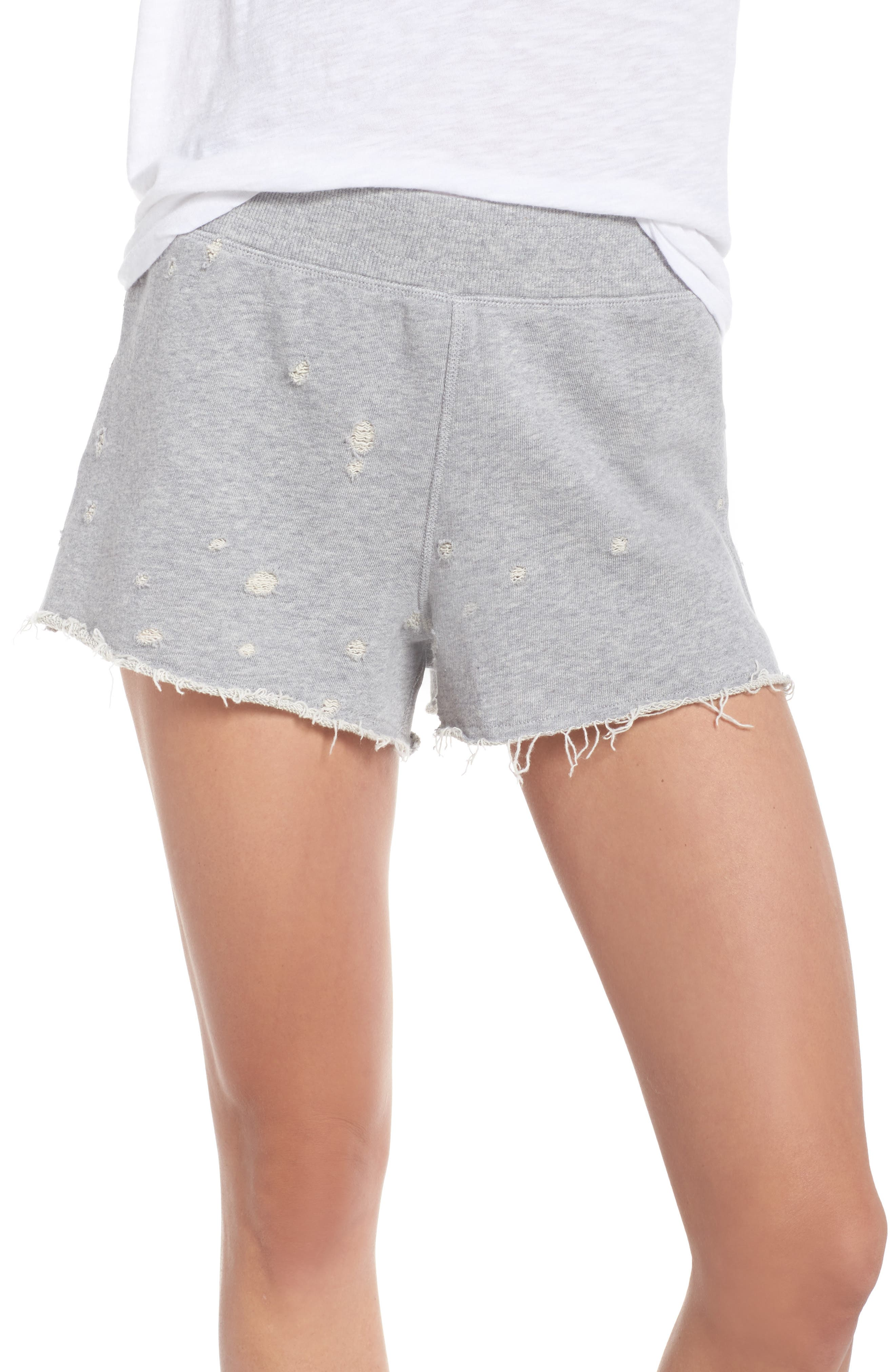Distressed Lounge Shorts,                         Main,                         color, Heather Grey