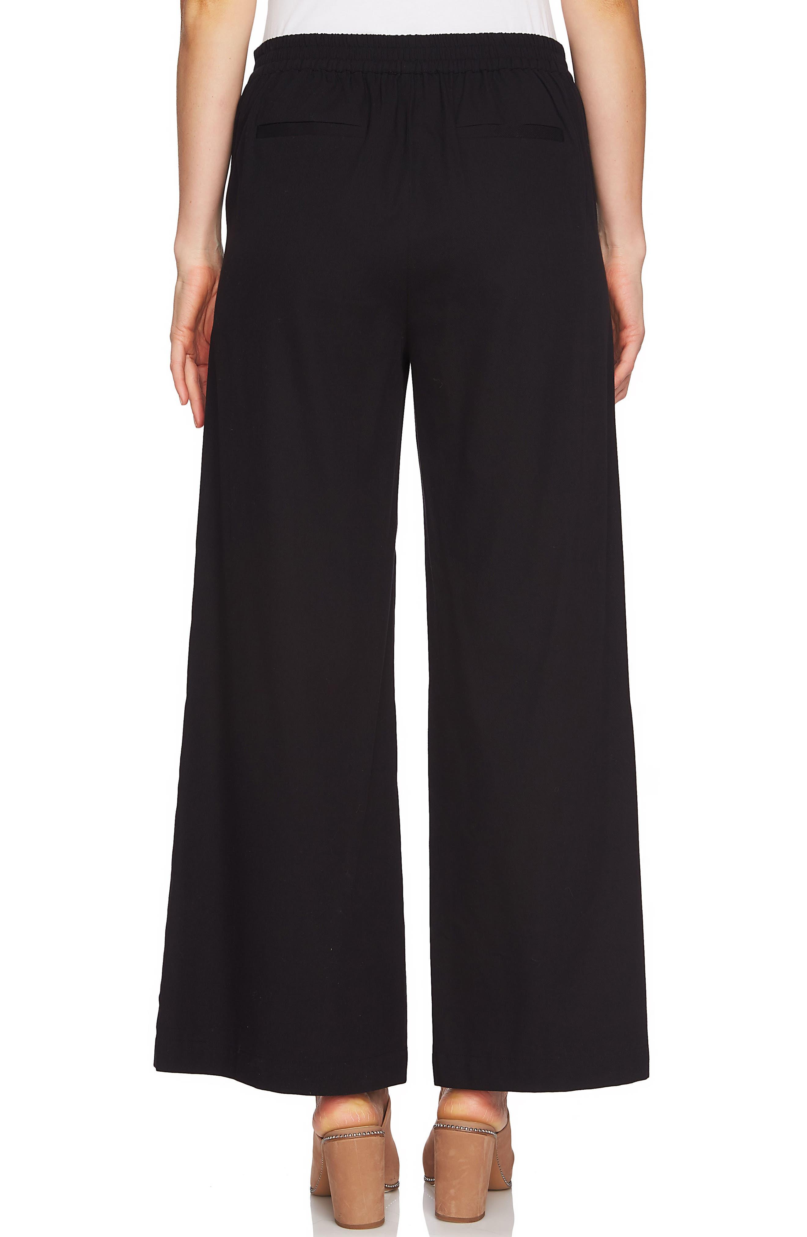 Lace-Up Detail Wide Leg Pants,                             Alternate thumbnail 2, color,                             Rich Black