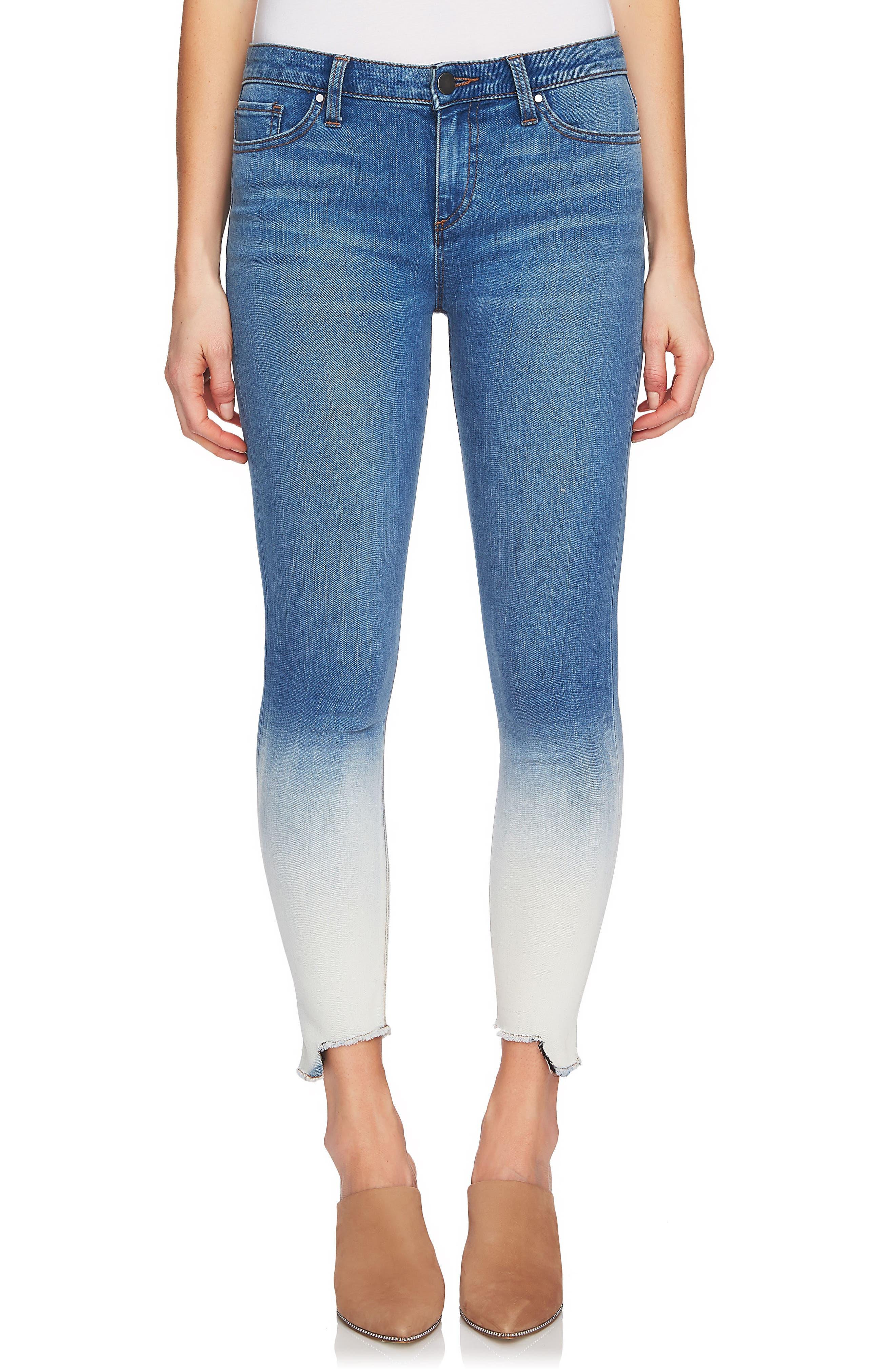 Dip Dye Skinny Jeans,                             Main thumbnail 1, color,                             Riviera