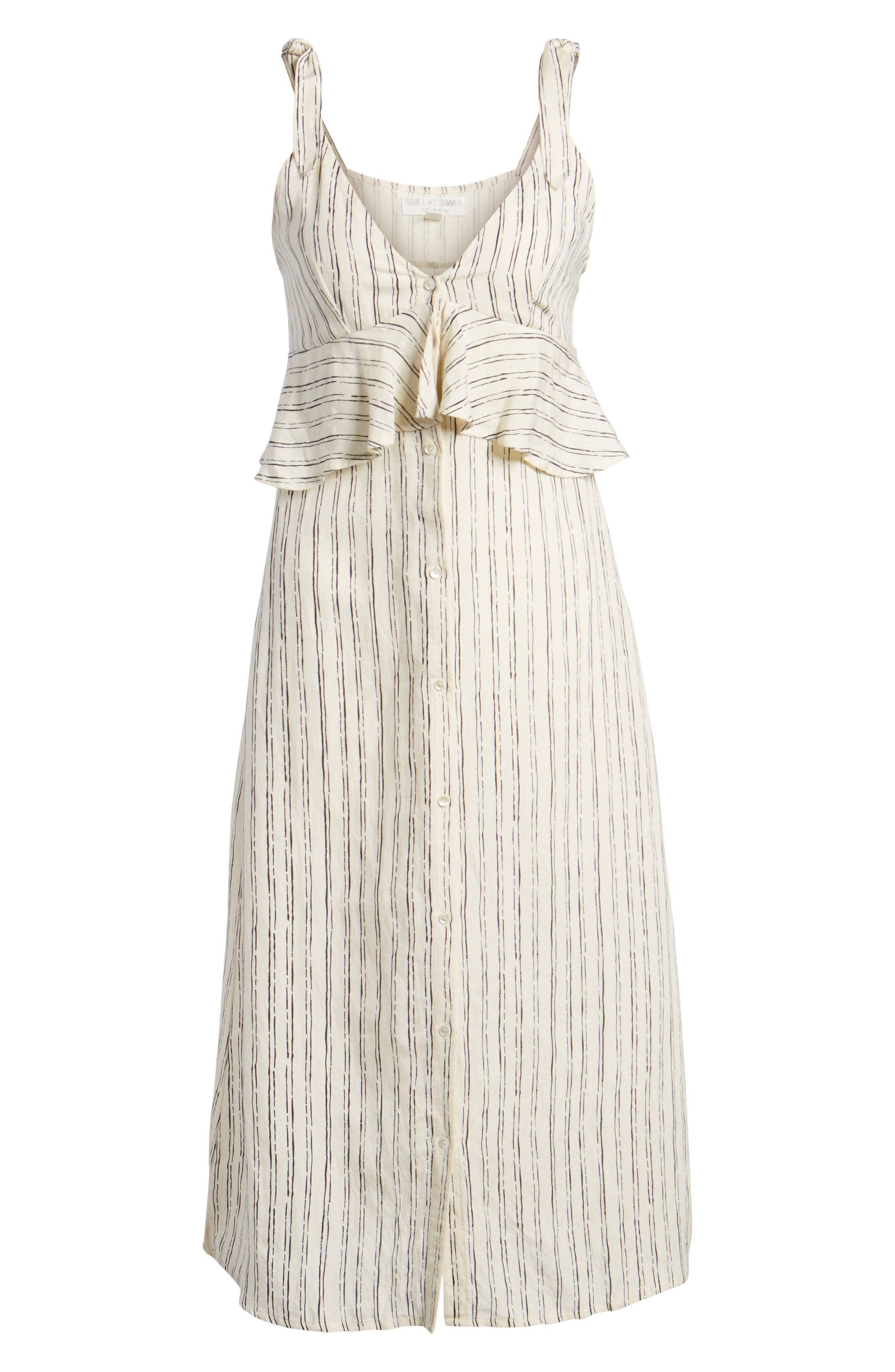 Loosen Up Linen Blend Sundress,                             Alternate thumbnail 6, color,                             White Cap
