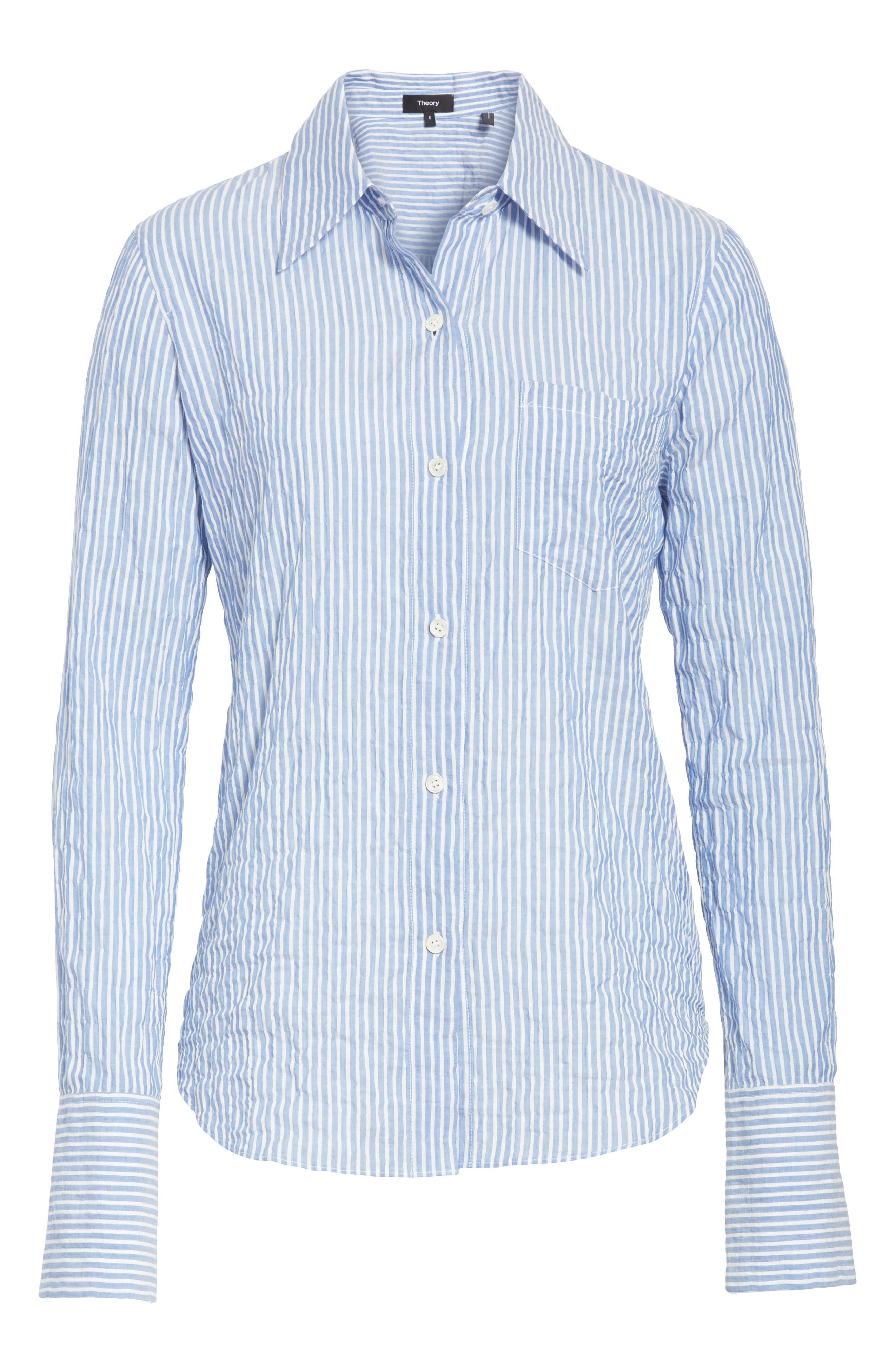 Classic Button Down Shirt,                             Alternate thumbnail 6, color,                             Blue/ White