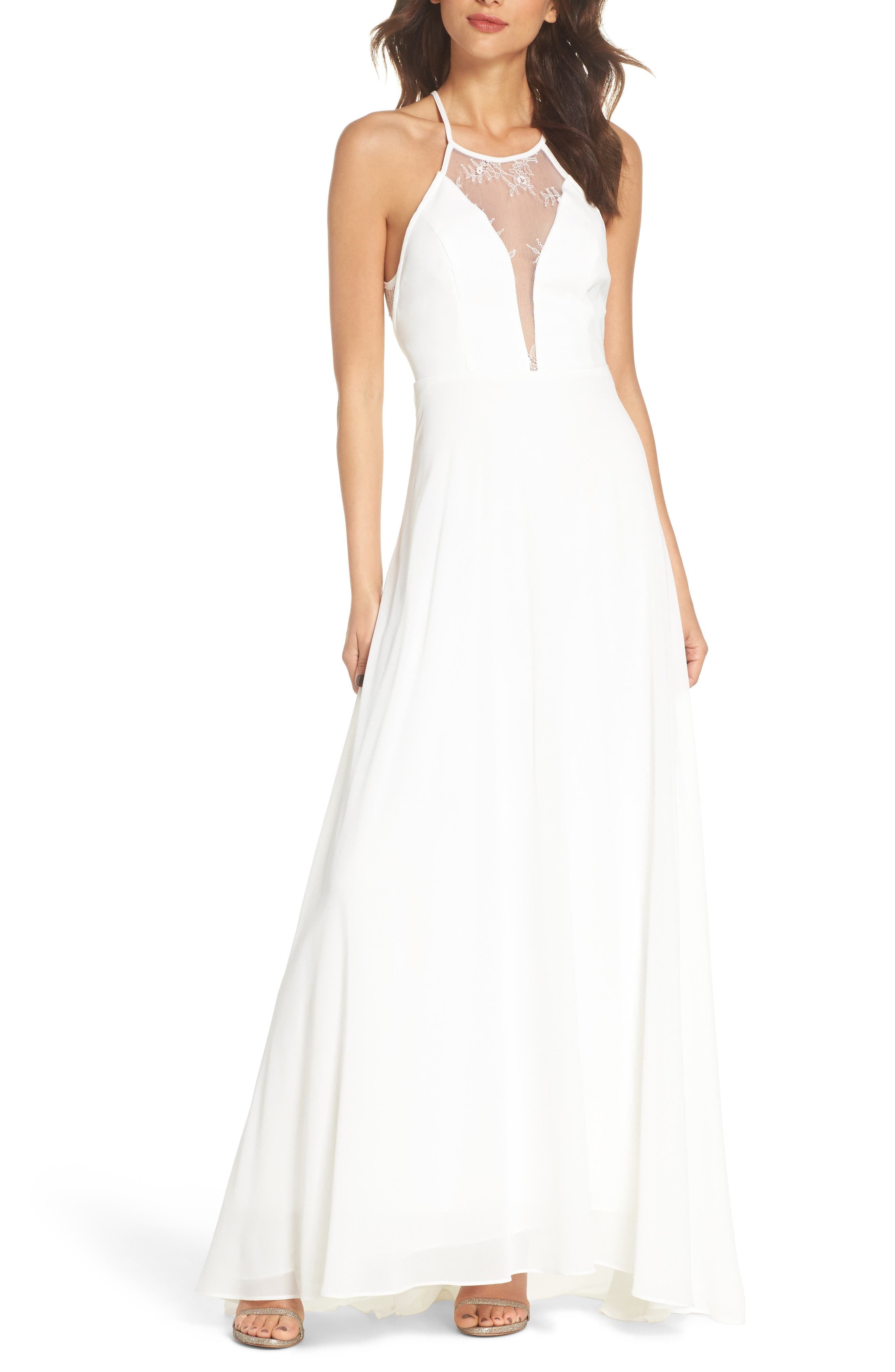 Lace Inset Halter Neck Gown,                         Main,                         color, White