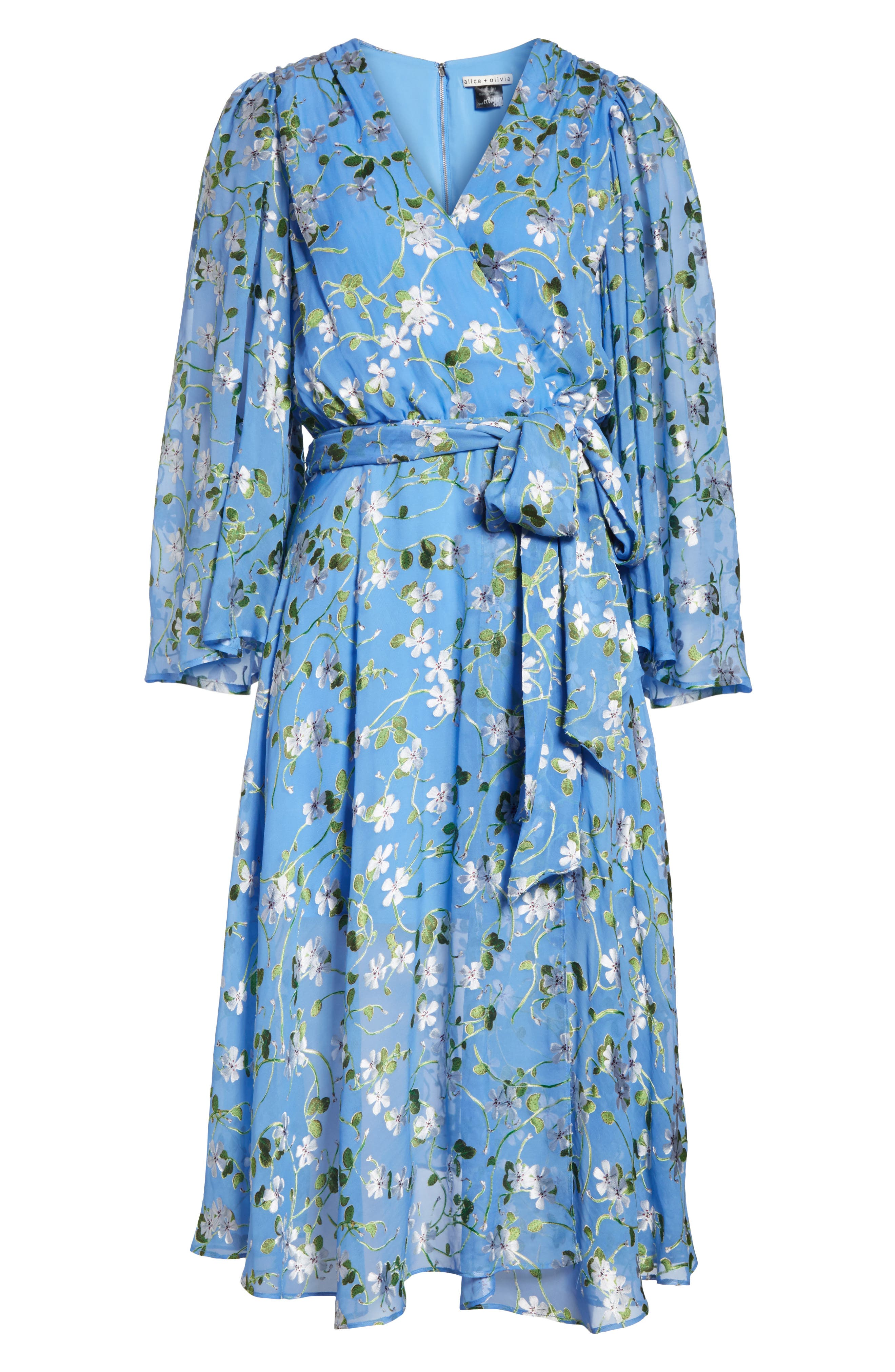Halsey Bell Sleeve Faux Wrap Dress,                             Alternate thumbnail 6, color,                             Spring Primrose-Cerulean