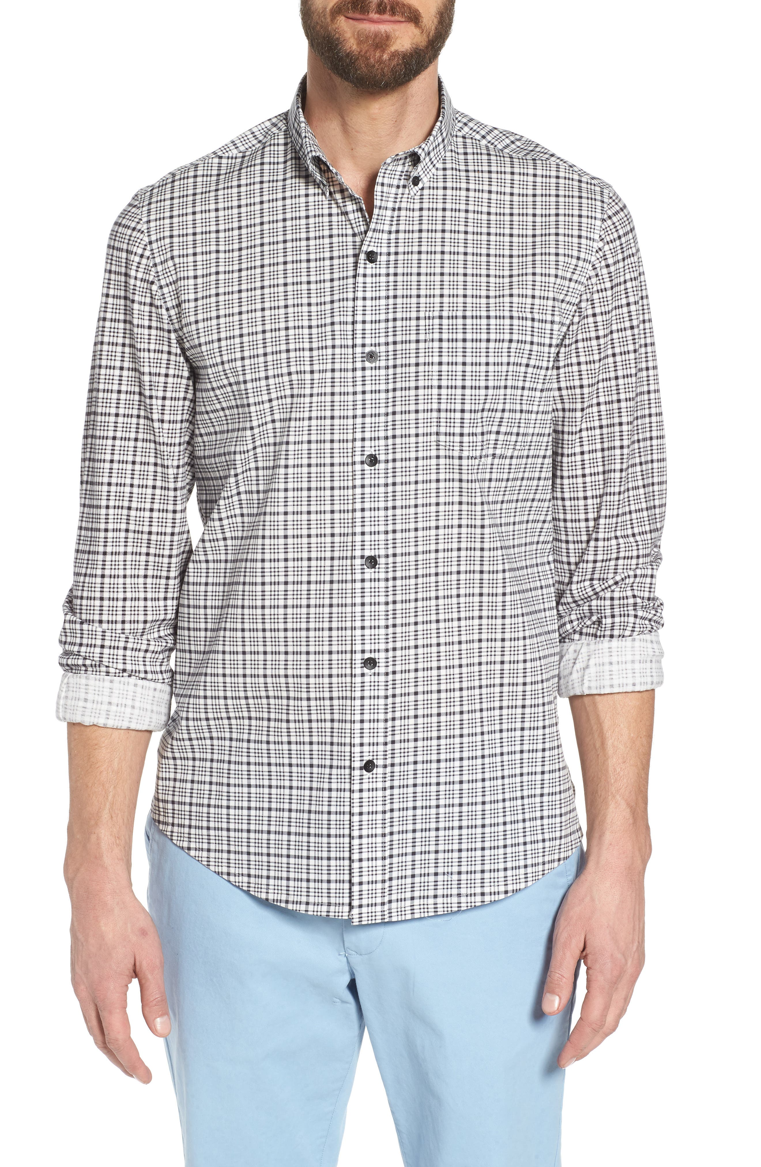Check Slim Fit Sport Shirt,                             Main thumbnail 1, color,                             White/ Black