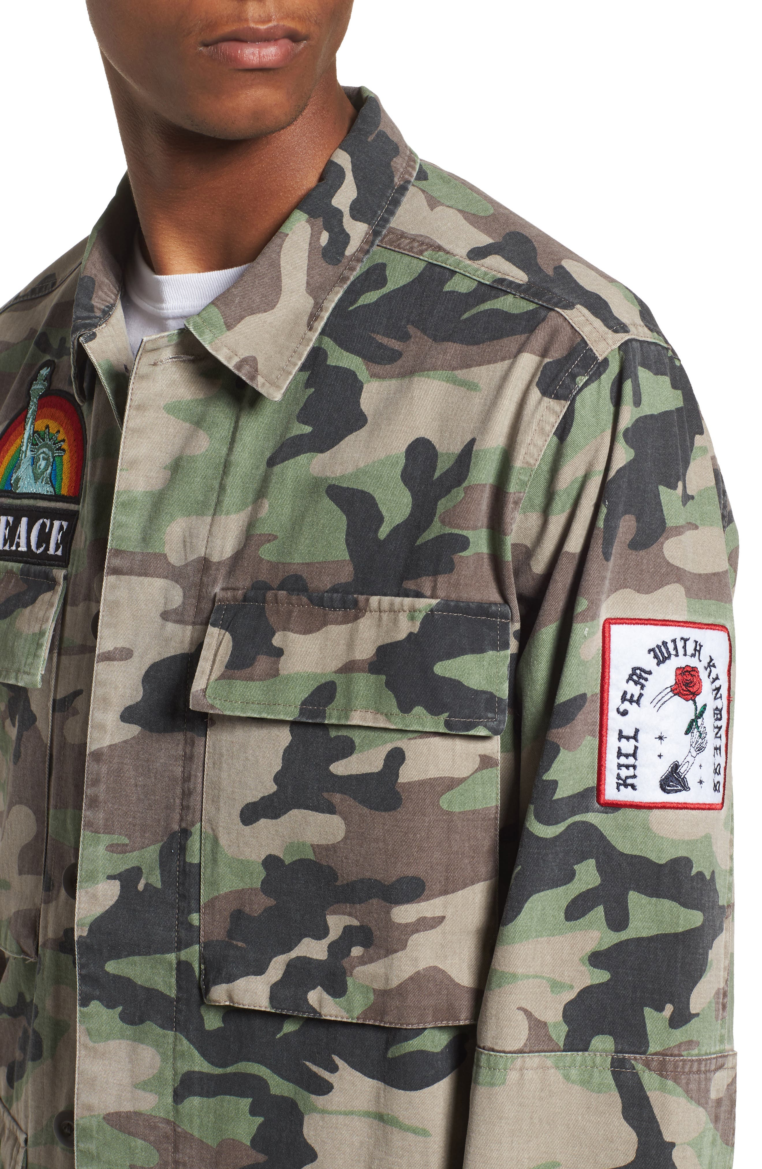 Military Patch Jacket,                             Alternate thumbnail 4, color,                             Brown Green Camo