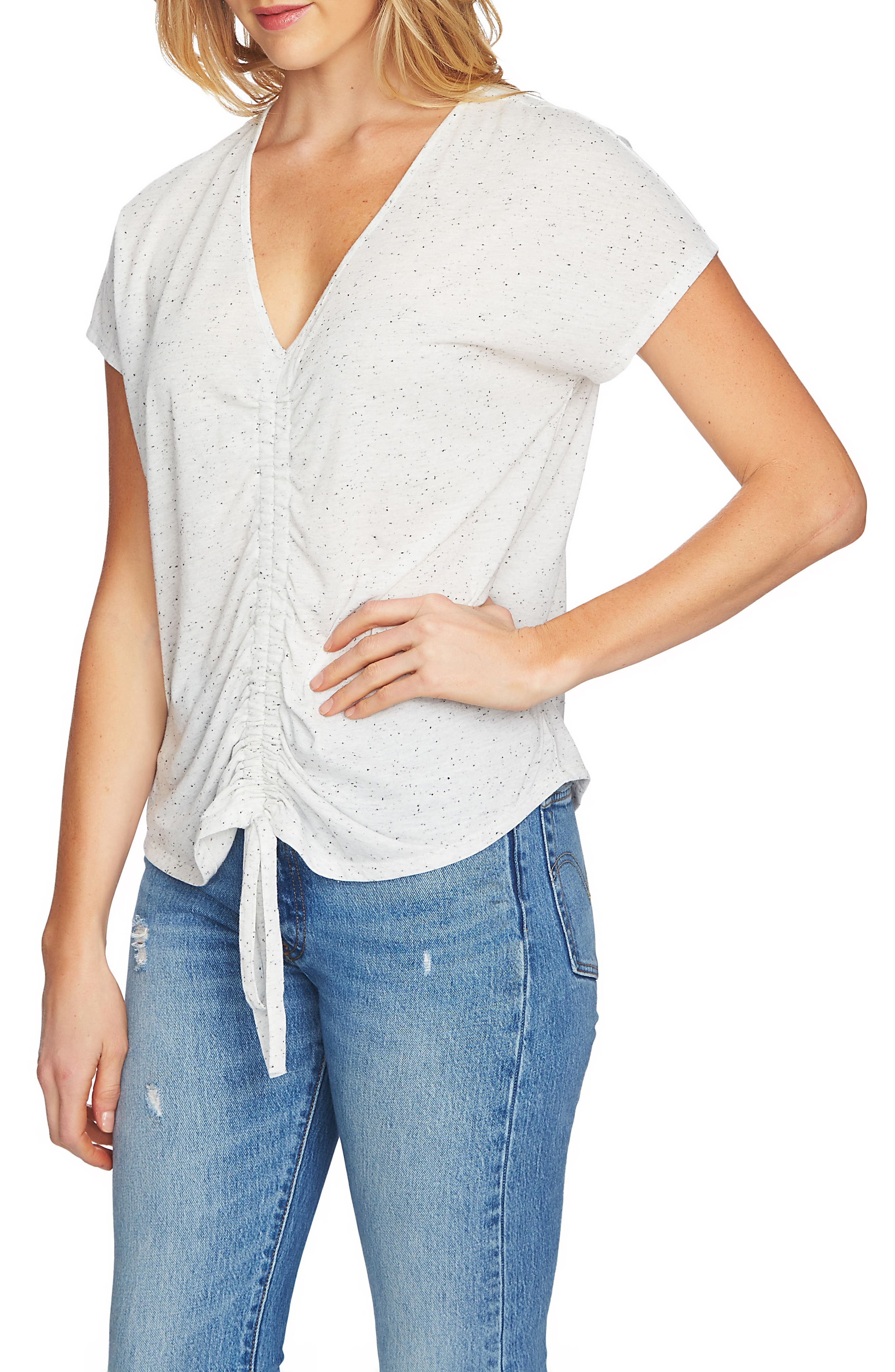 1.state  SPECKLE CINCH FRONT KNIT TOP