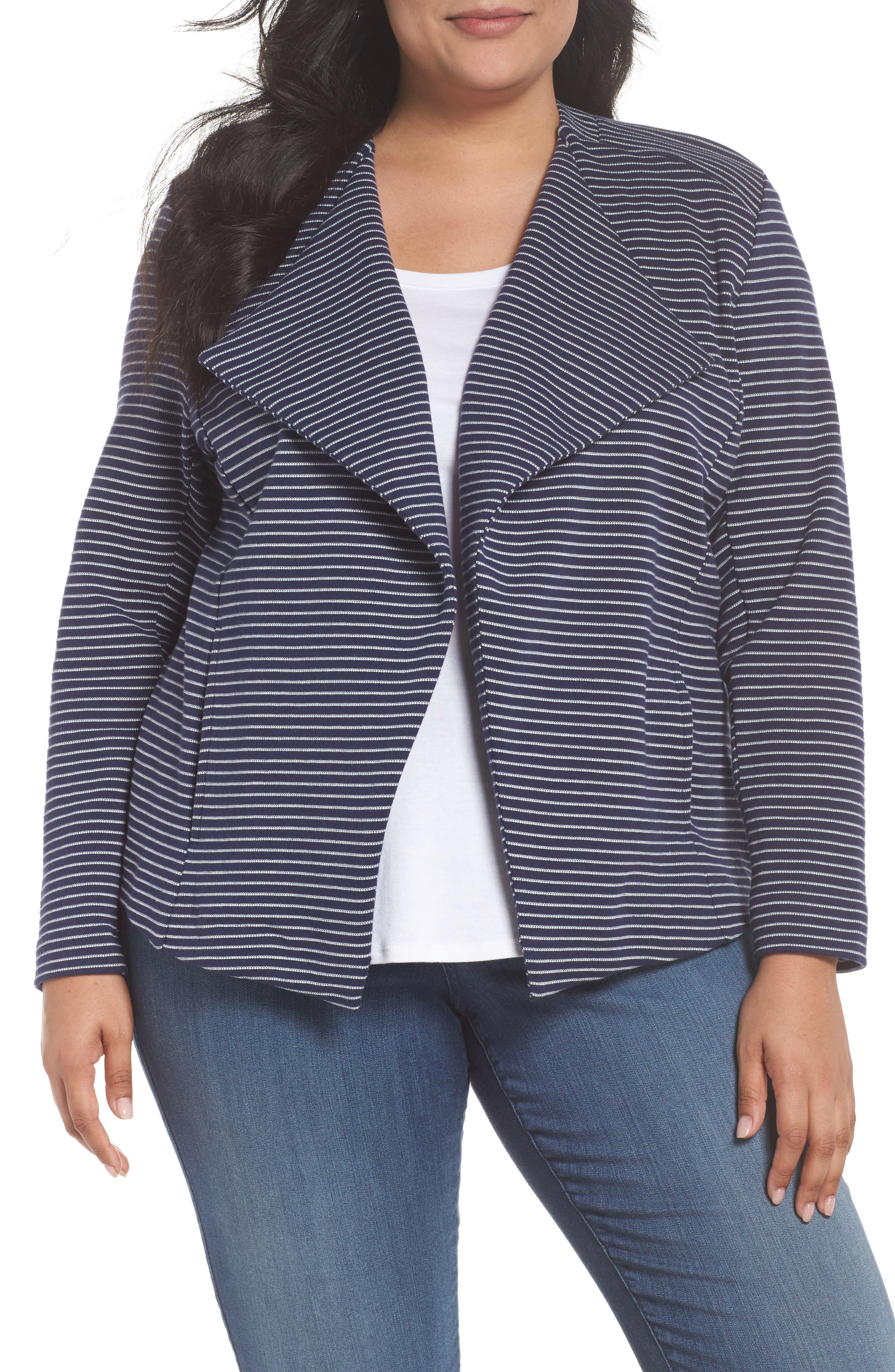 Sejour Drape Front Stripe Blazer (Plus Size)