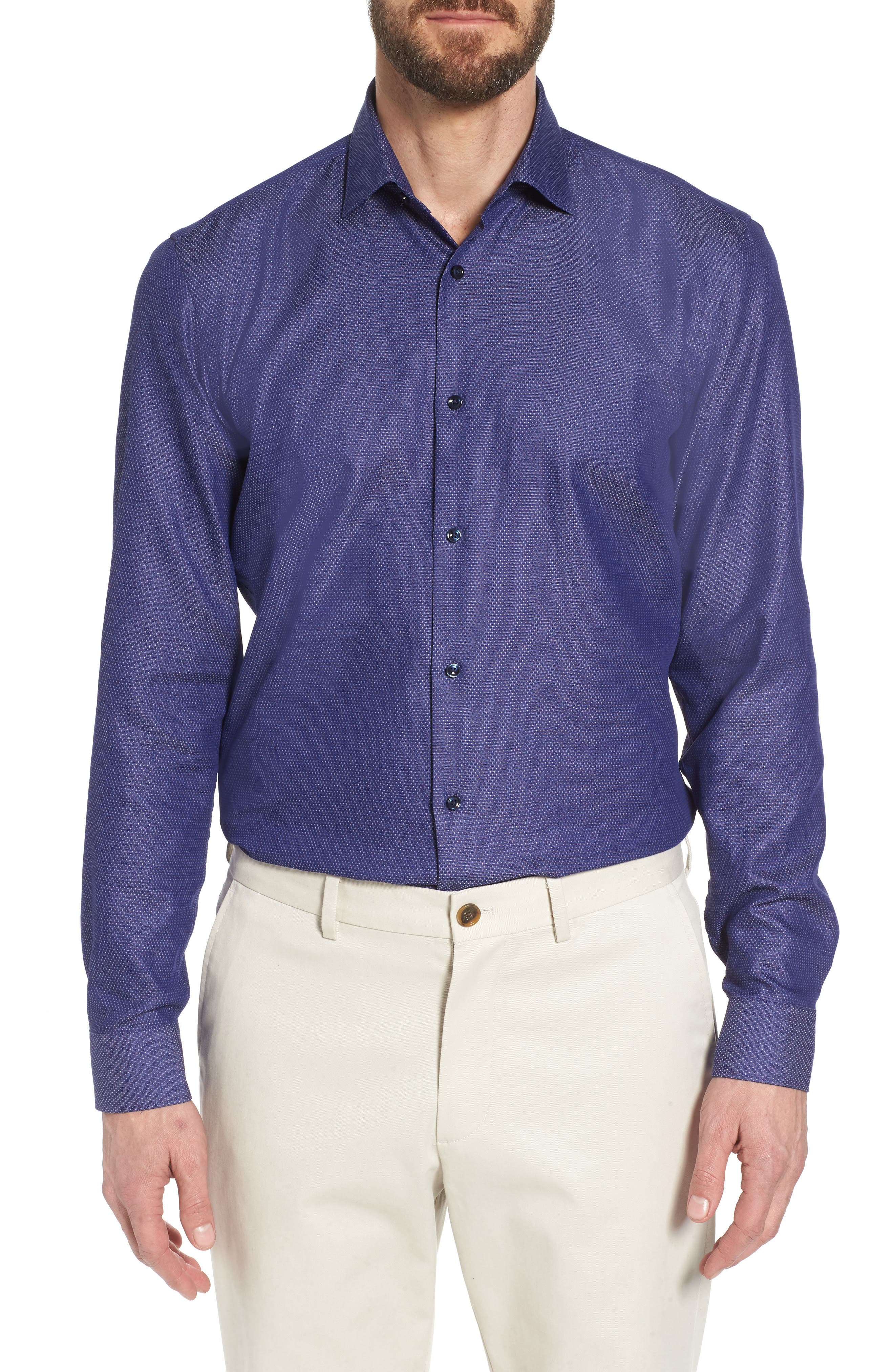 Ismo Slim Fit Solid Dress Shirt,                         Main,                         color, Navy