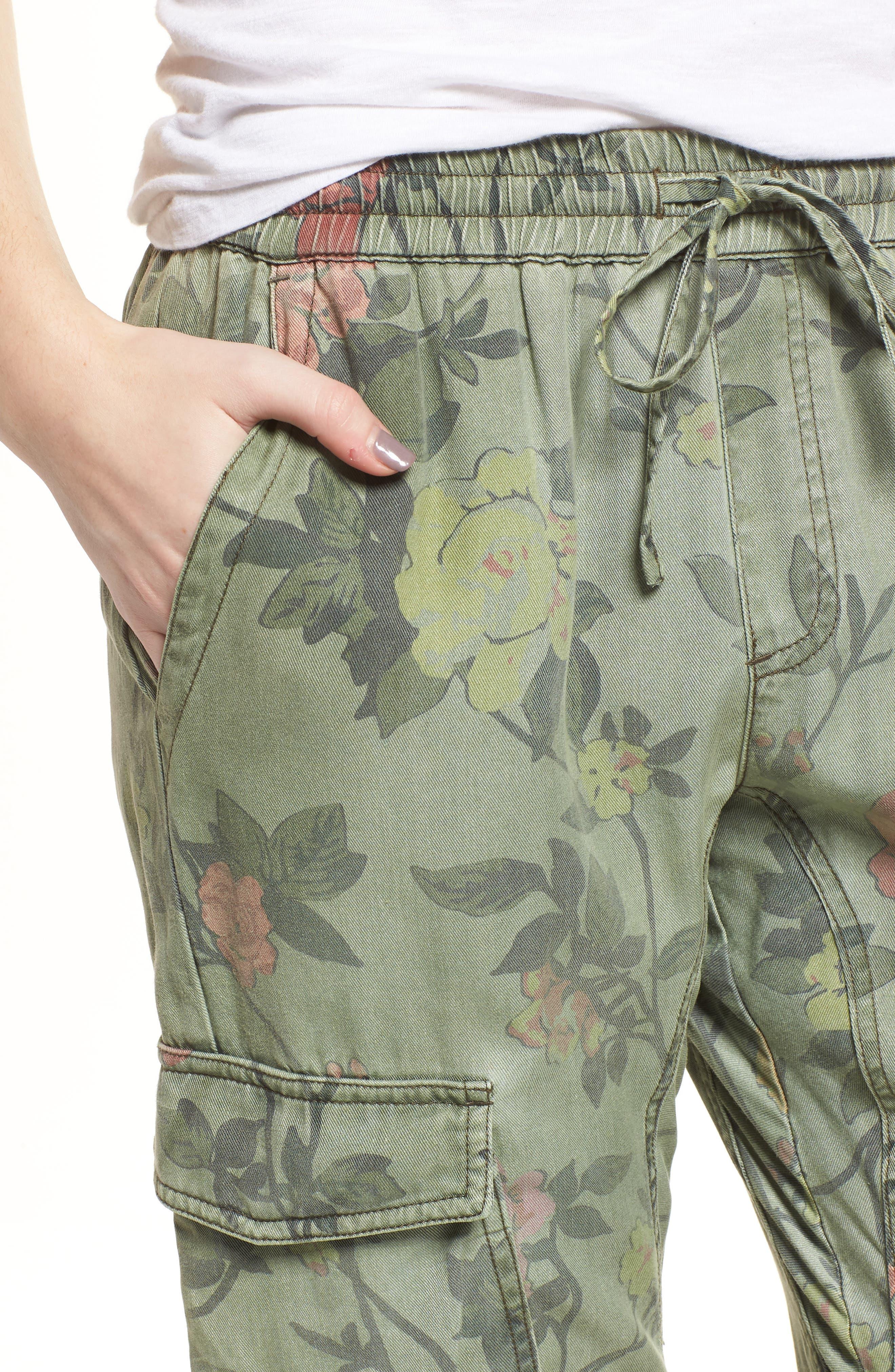 Floral Cargo Pants,                             Alternate thumbnail 4, color,                             Wallflower Print