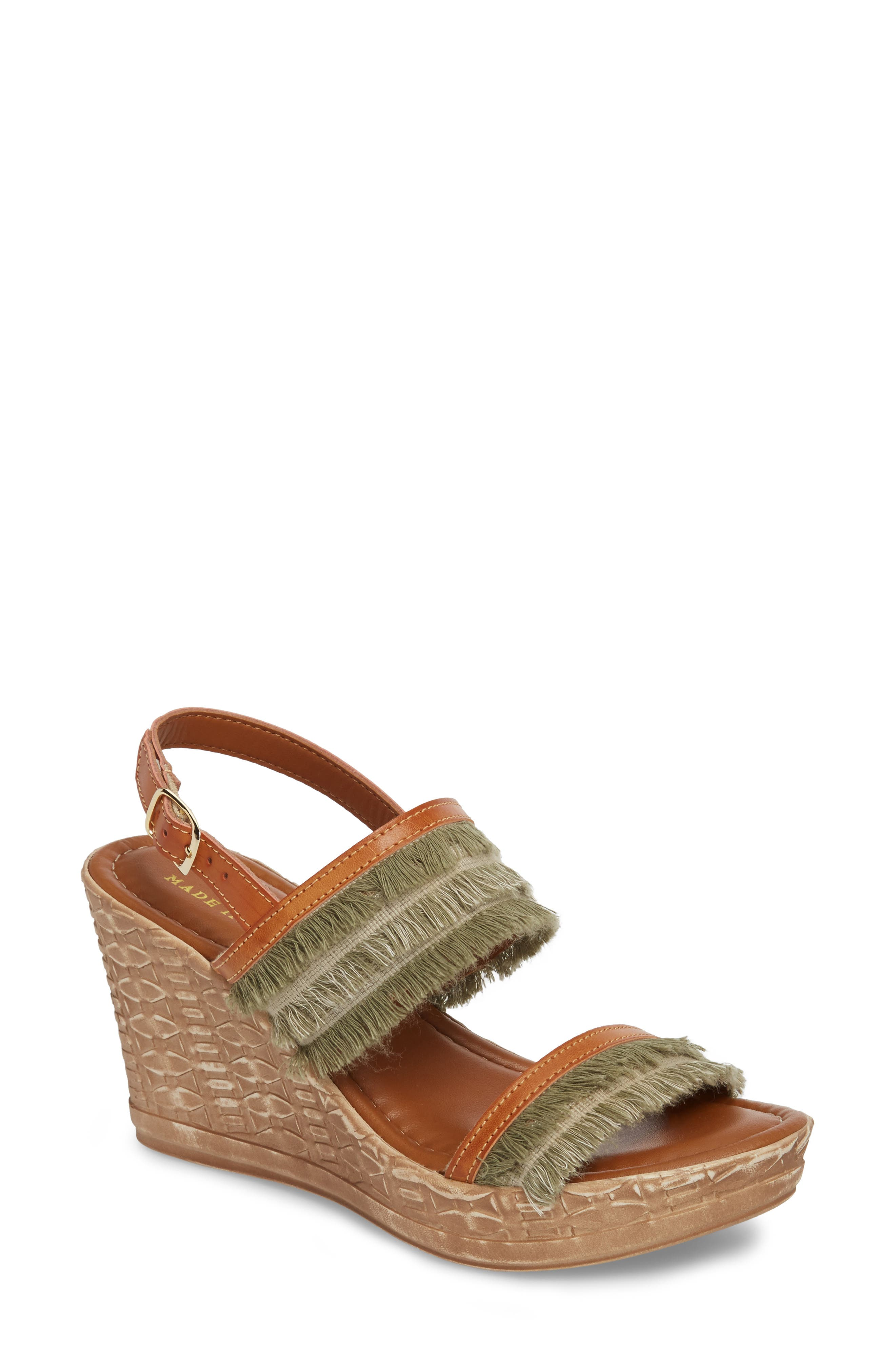 by Easy Street<sup>®</sup> Zaira Wedge Espadrille Sandal,                         Main,                         color, Khaki Faux Leather