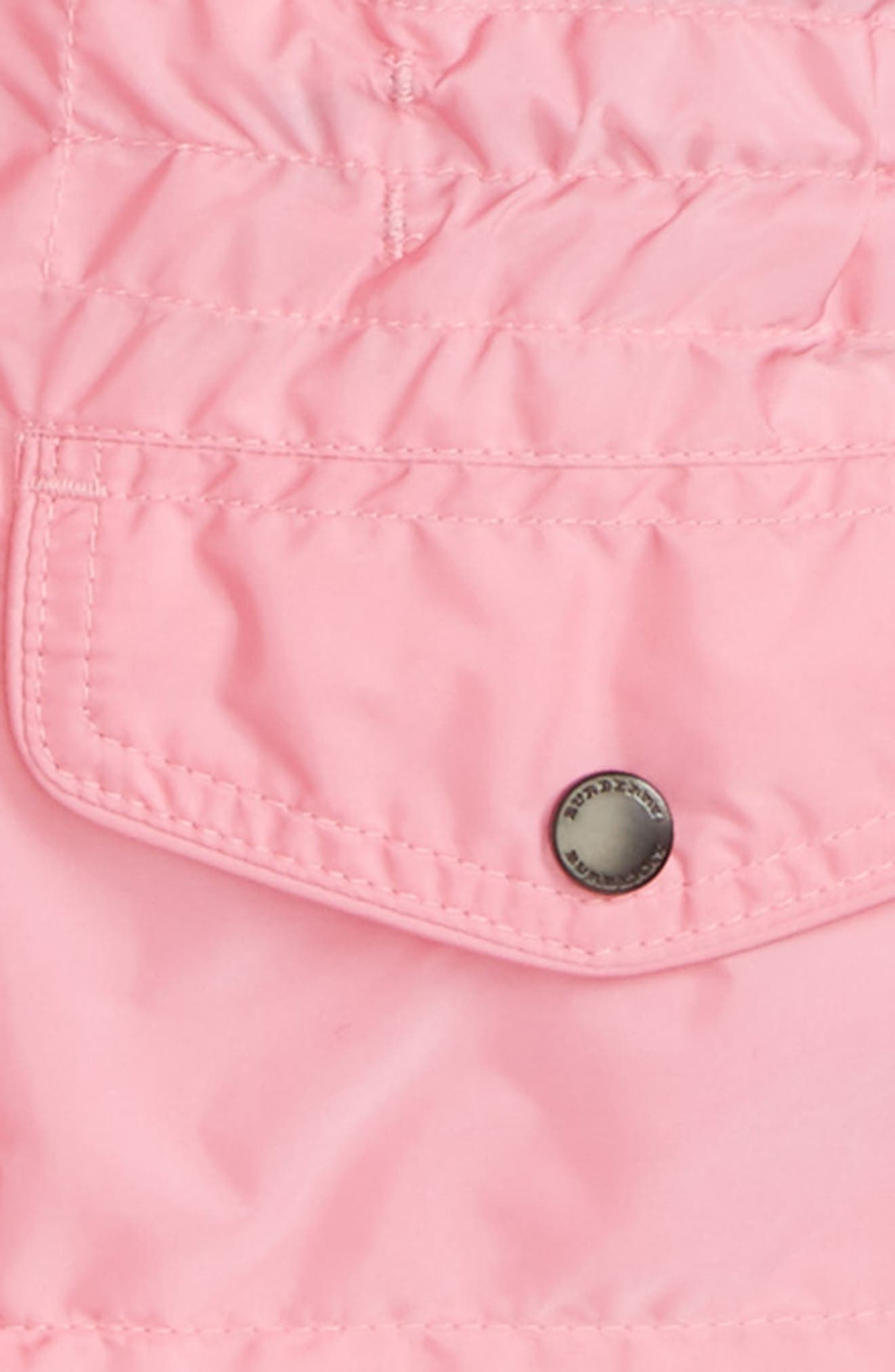 Mini Halle Hooded Packaway Rain Jacket,                             Alternate thumbnail 2, color,                             Bright Coral Pink