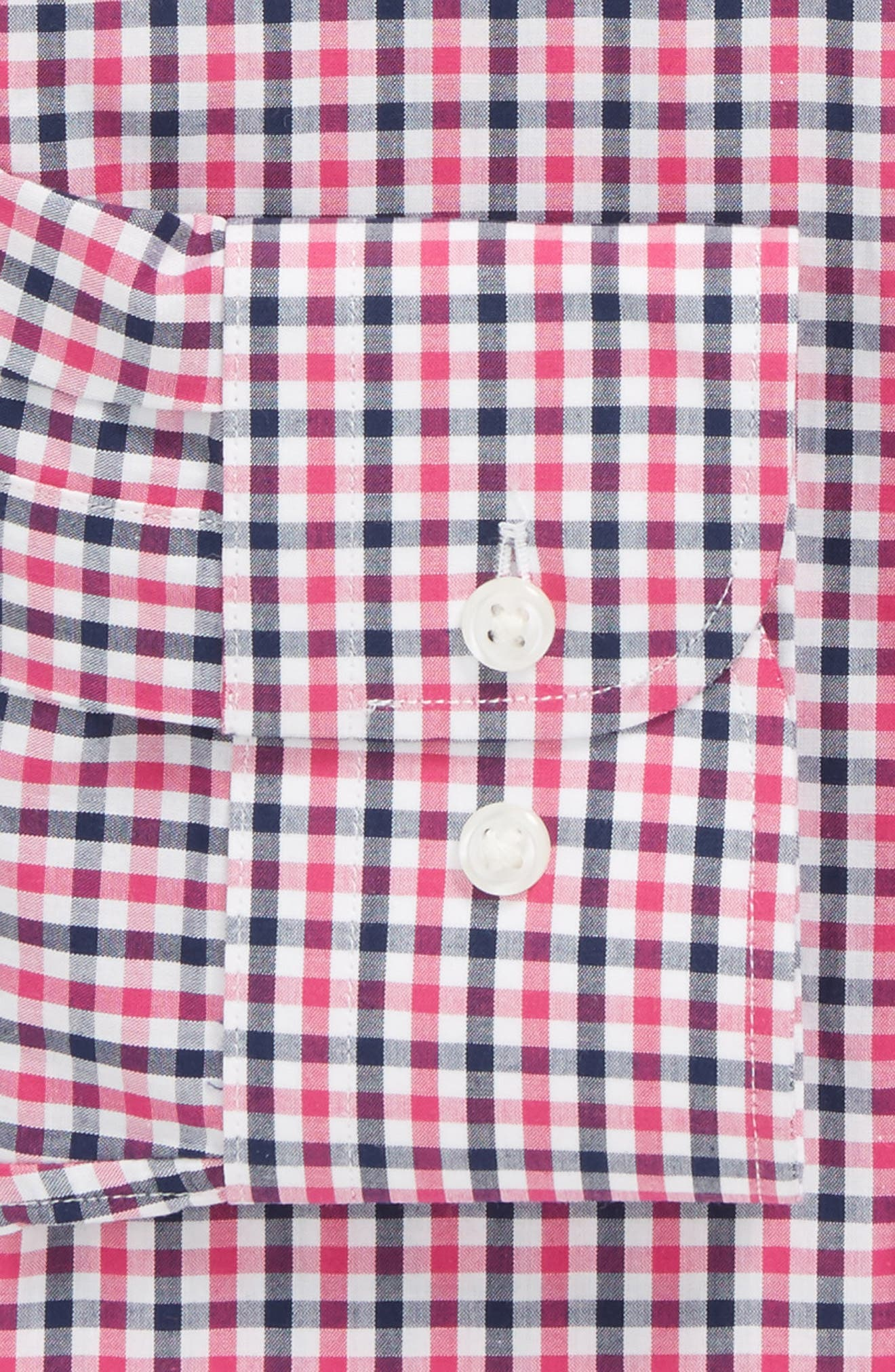 Trim Fit Check Dress Shirt,                             Alternate thumbnail 5, color,                             Pink Berry