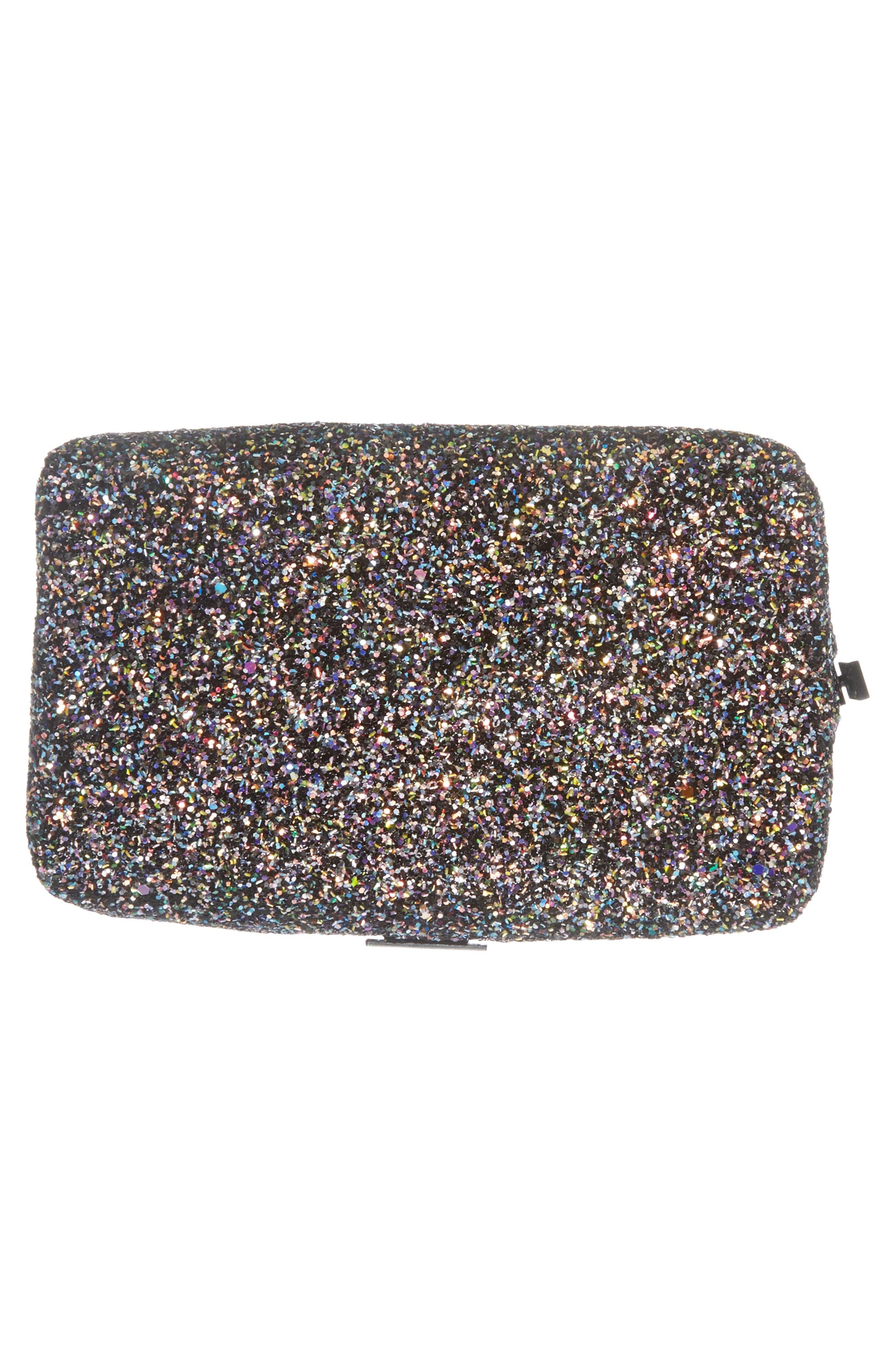 Skinny Dip Liquorice Glitter Cosmetics Bag,                             Alternate thumbnail 5, color,                             No Color