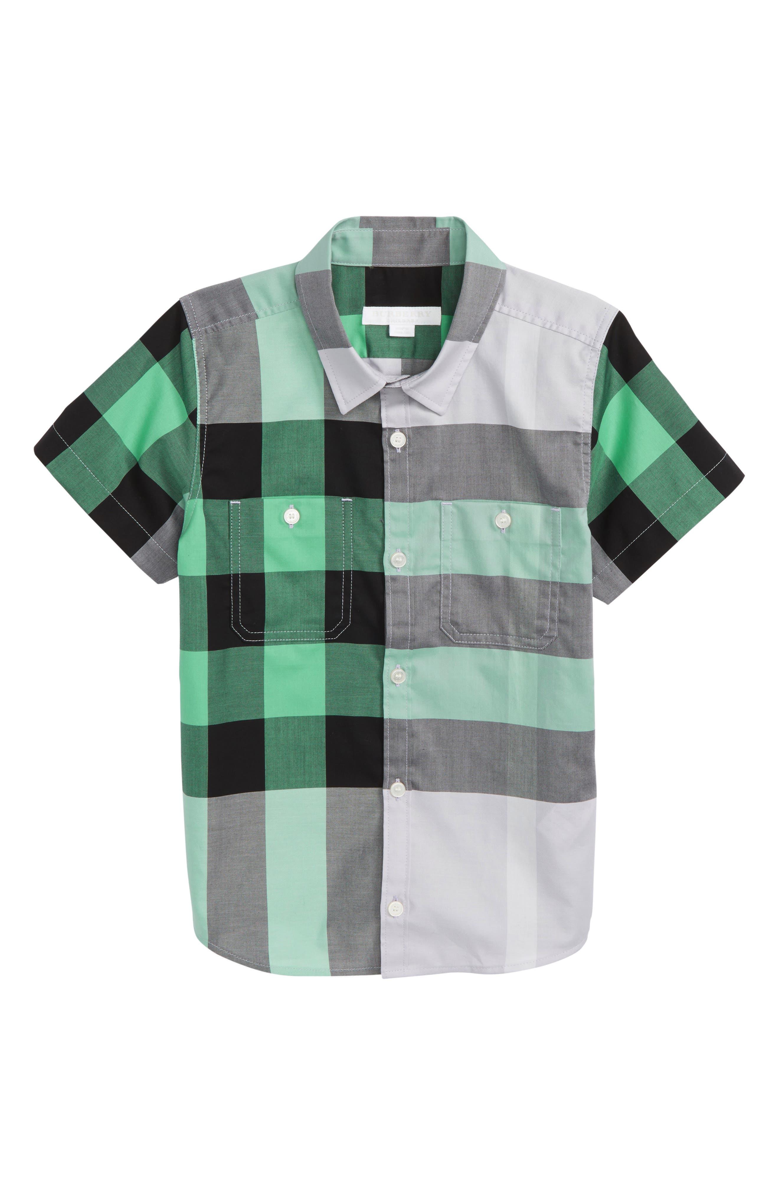 Mini Camber Check Shirt,                         Main,                         color, Pale Lilac