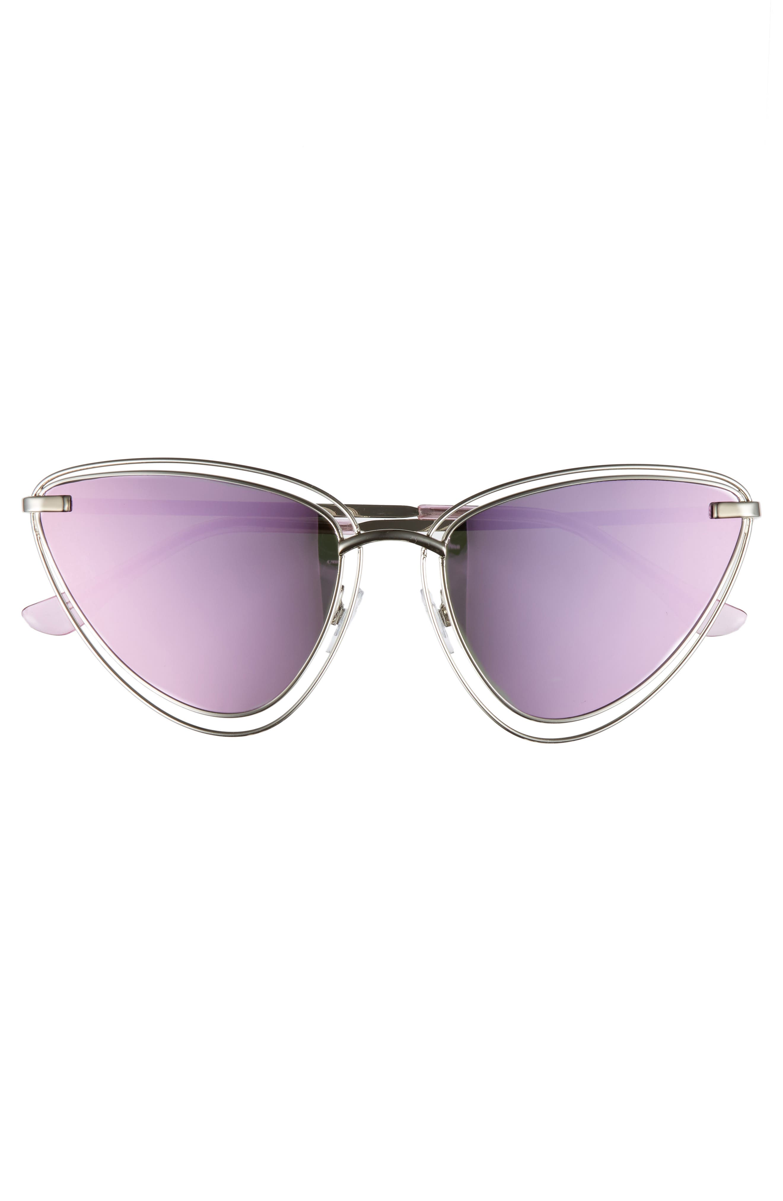 55mm Metal Cat Eye Sunglasses,                             Alternate thumbnail 3, color,                             Silver/ Purple