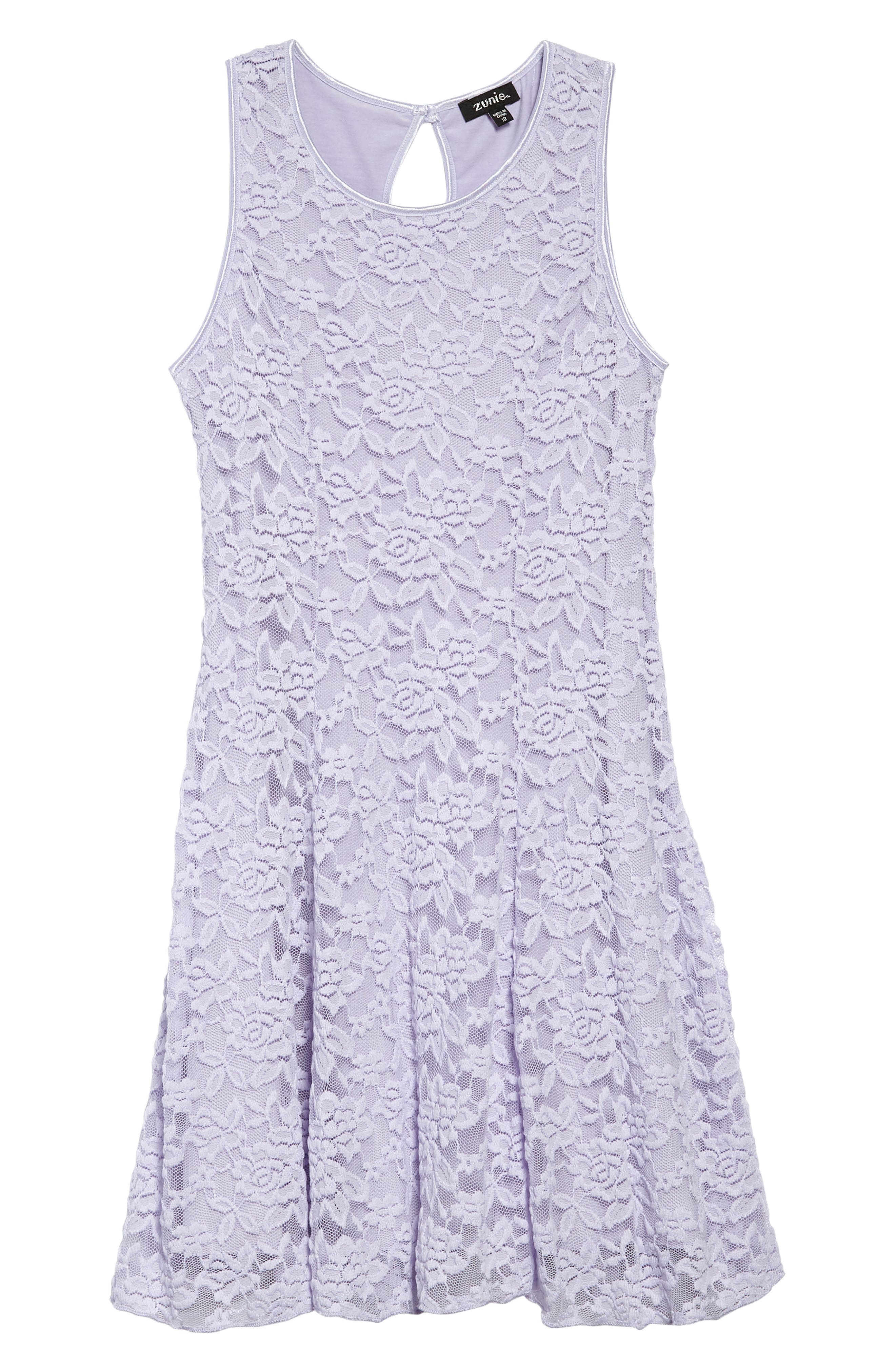 Floral Lace Sleeveless Dress,                         Main,                         color, Lilac