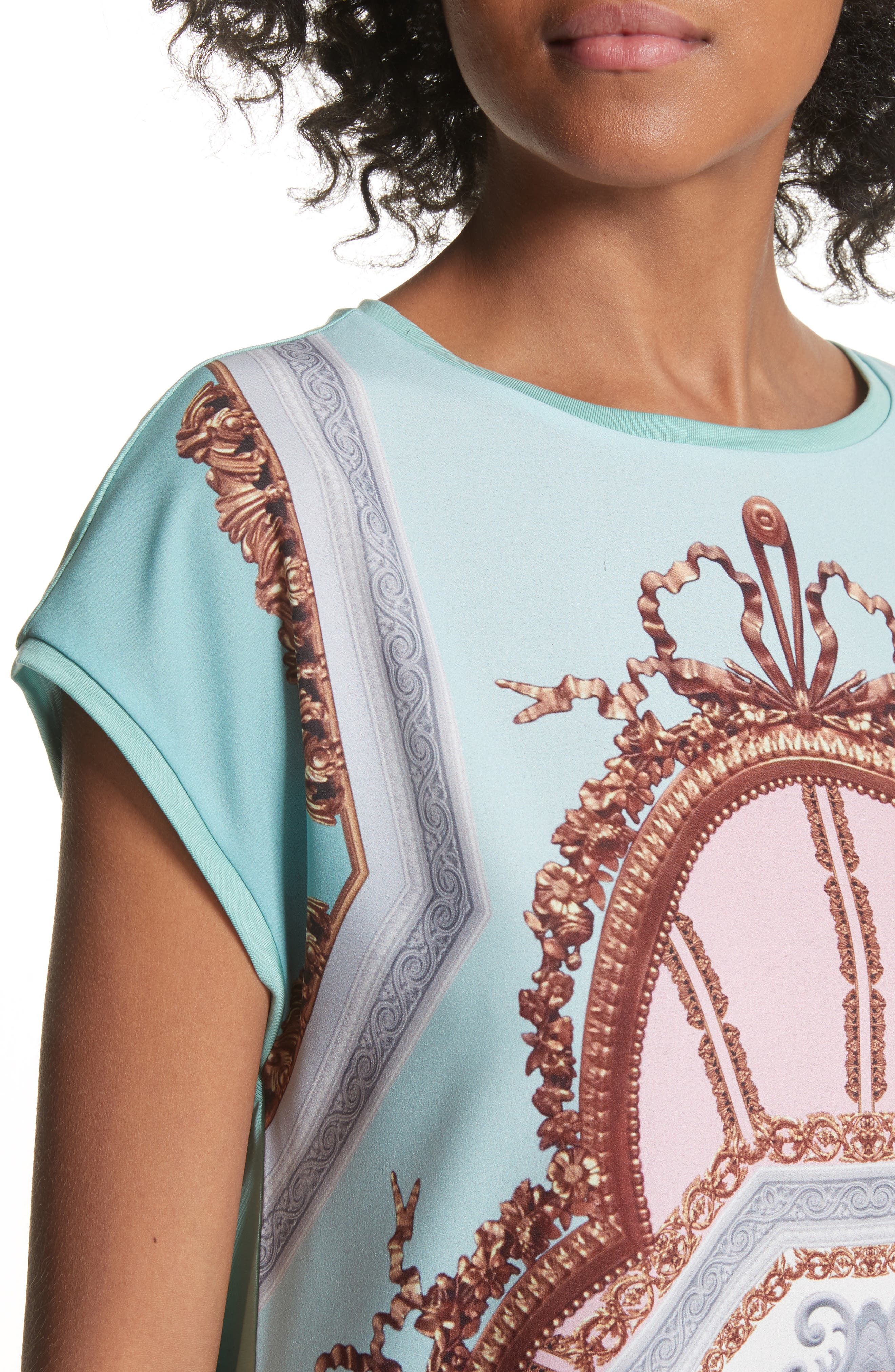 Versailles Woven Front Tee,                             Alternate thumbnail 4, color,                             Teal
