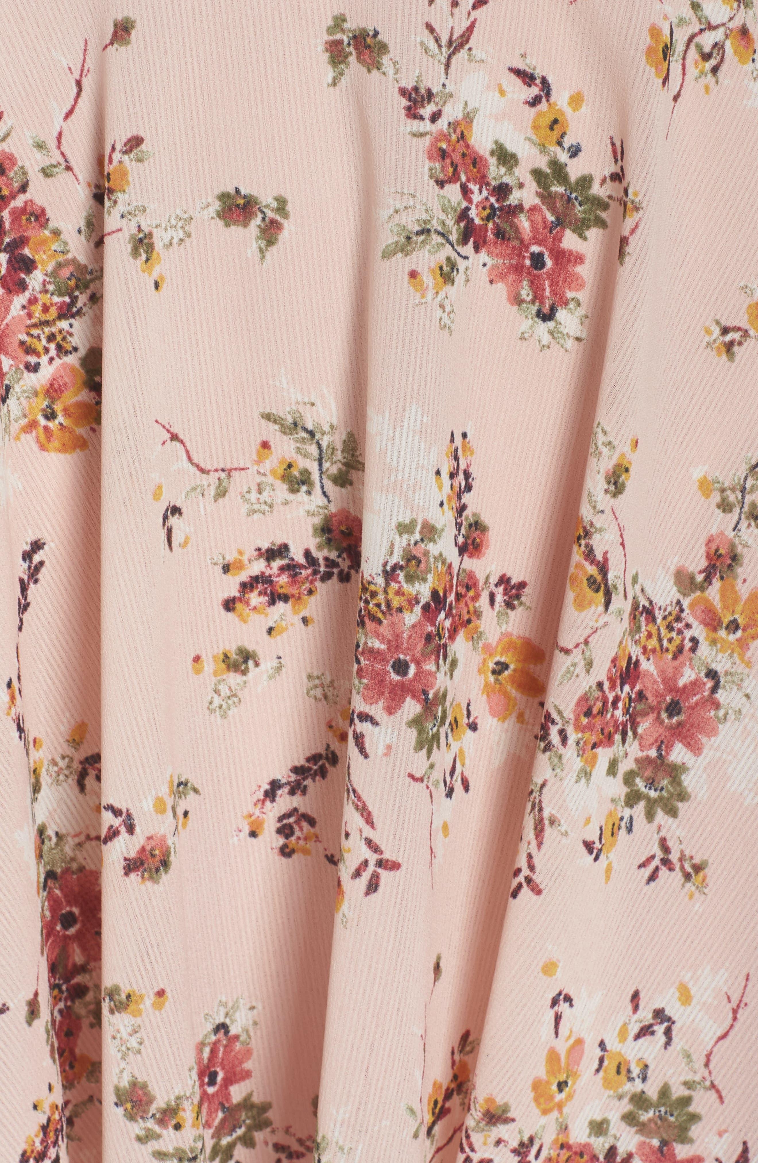El Cid Floral Tie Front Minidress,                             Alternate thumbnail 6, color,                             Blush Vintage Bouquet