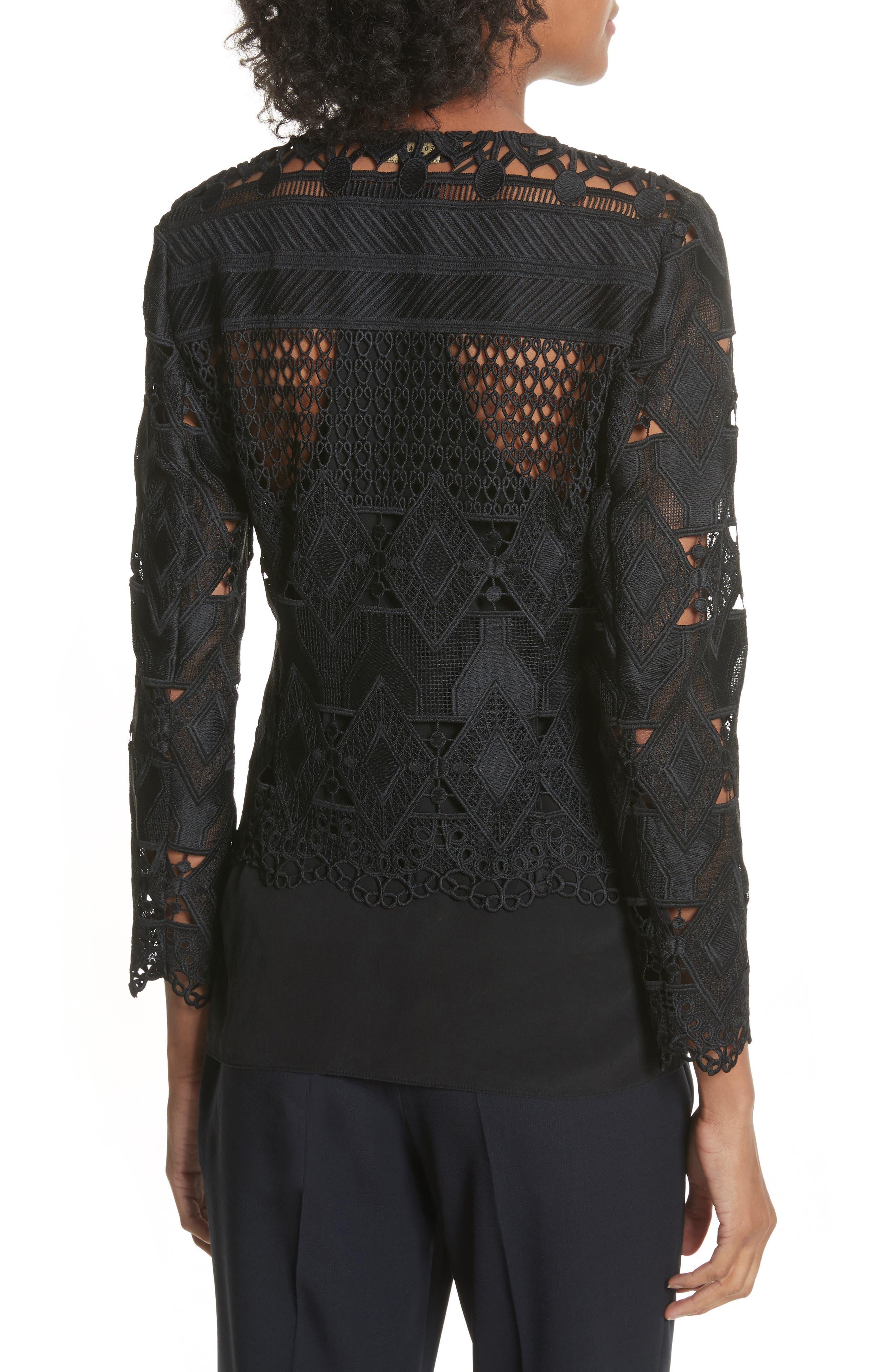 Crop Lace Jacket,                             Alternate thumbnail 2, color,                             Black