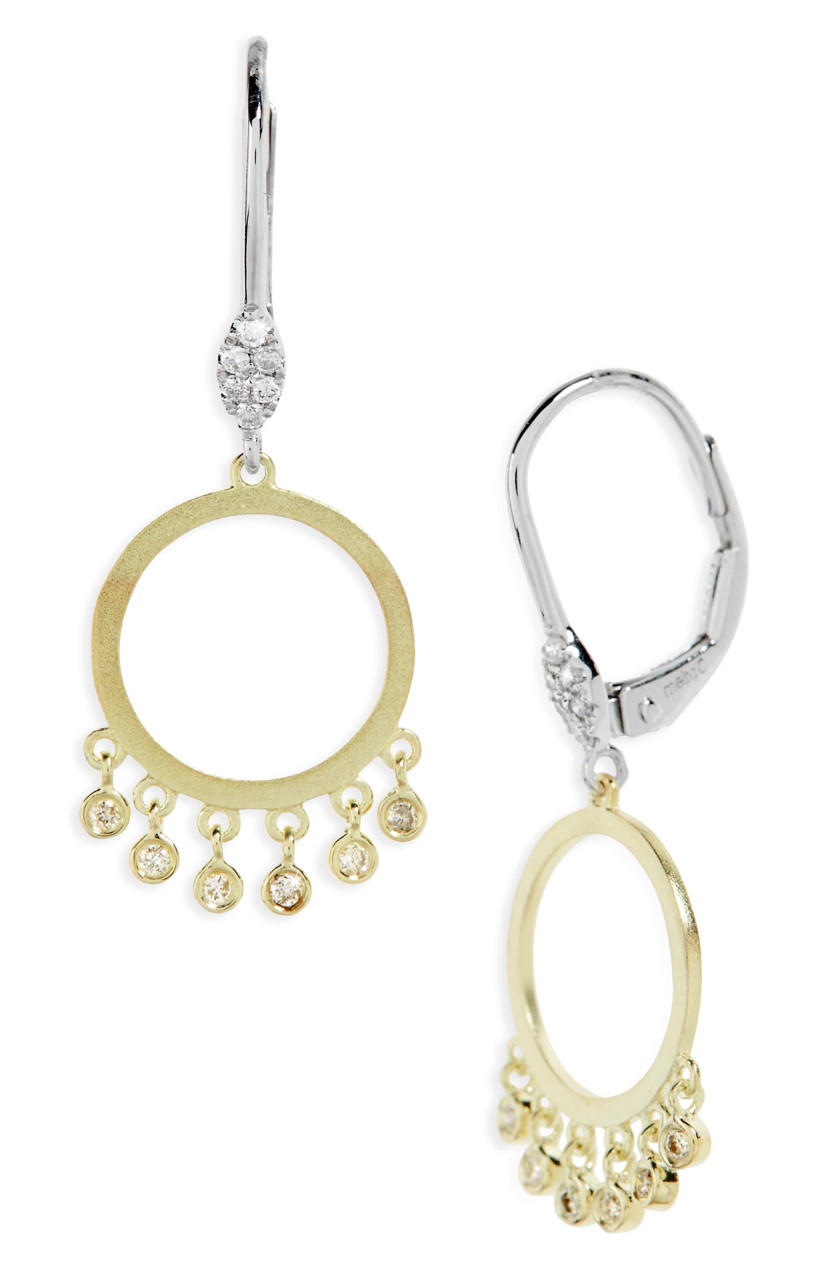 Meira T Bezel Set Diamond Drop Earrings