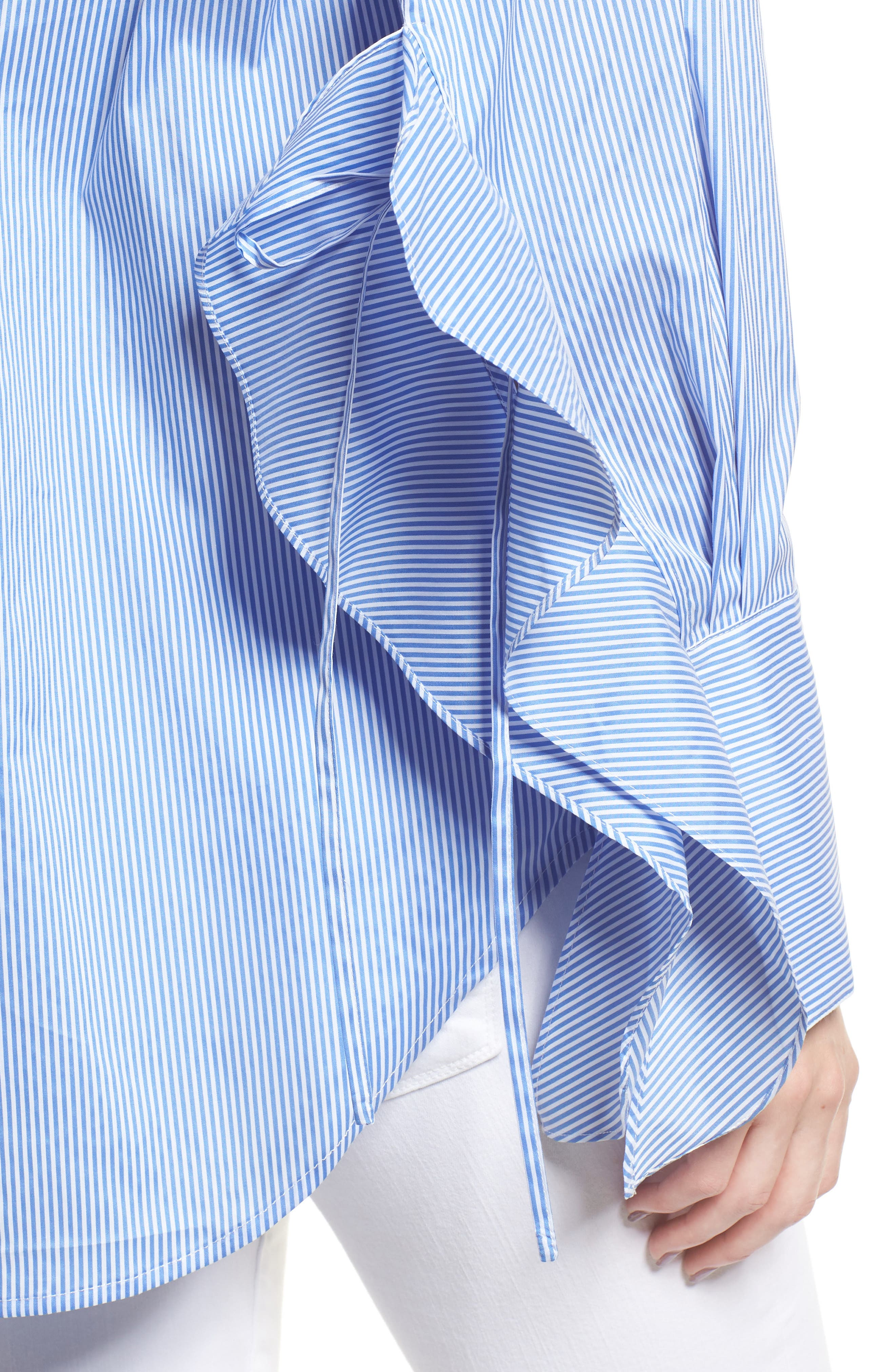 Stripe Ruffle Poplin Top,                             Alternate thumbnail 4, color,                             Blue Stream Stripe