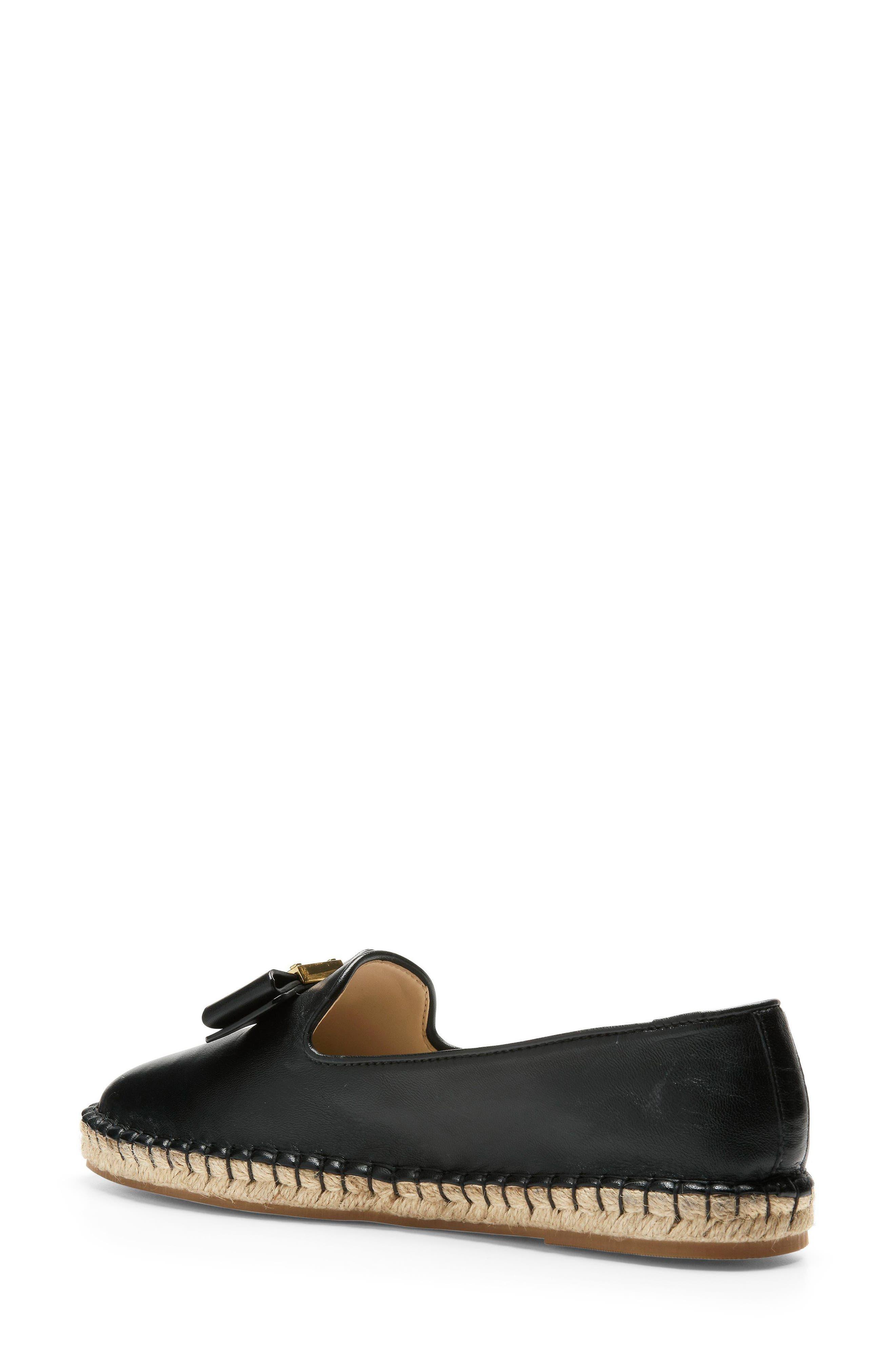 Tali Bow Espadrille Flat,                             Alternate thumbnail 2, color,                             Black Leather