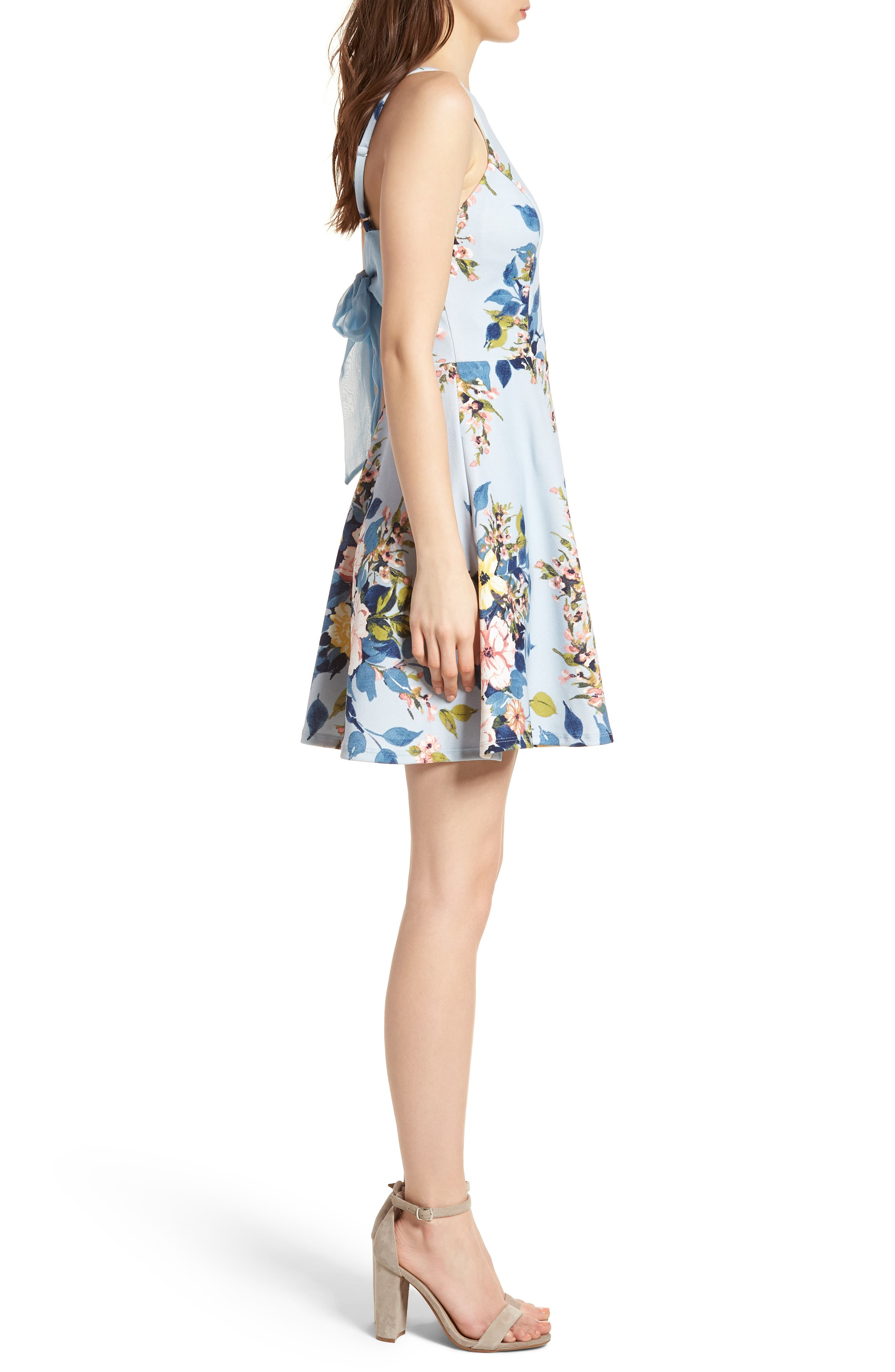 Floral Skater Dress,                             Alternate thumbnail 3, color,                             Blue/ Rose