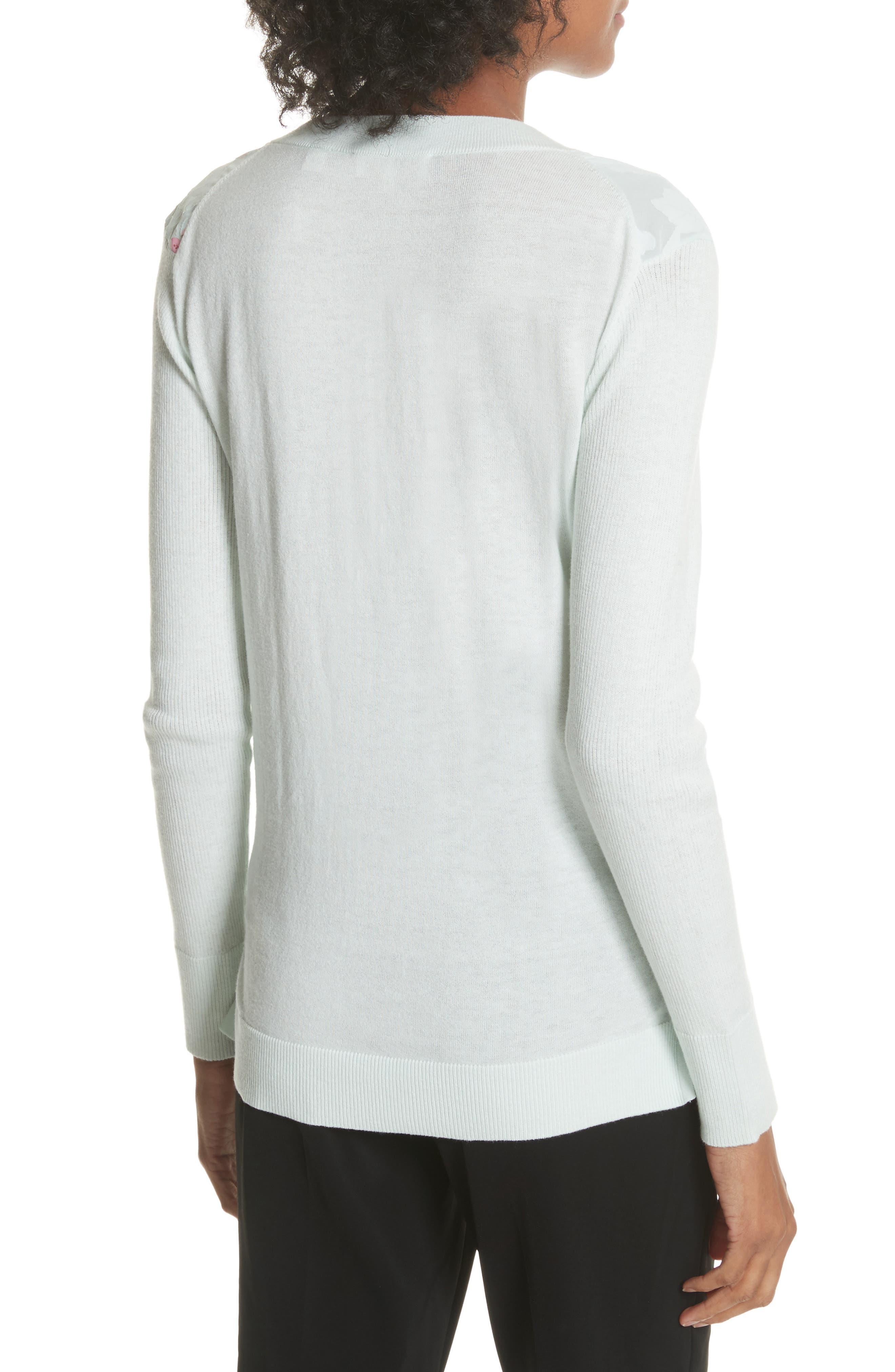 Soft Blossom Burnout Front Sweater,                             Alternate thumbnail 2, color,                             Mint