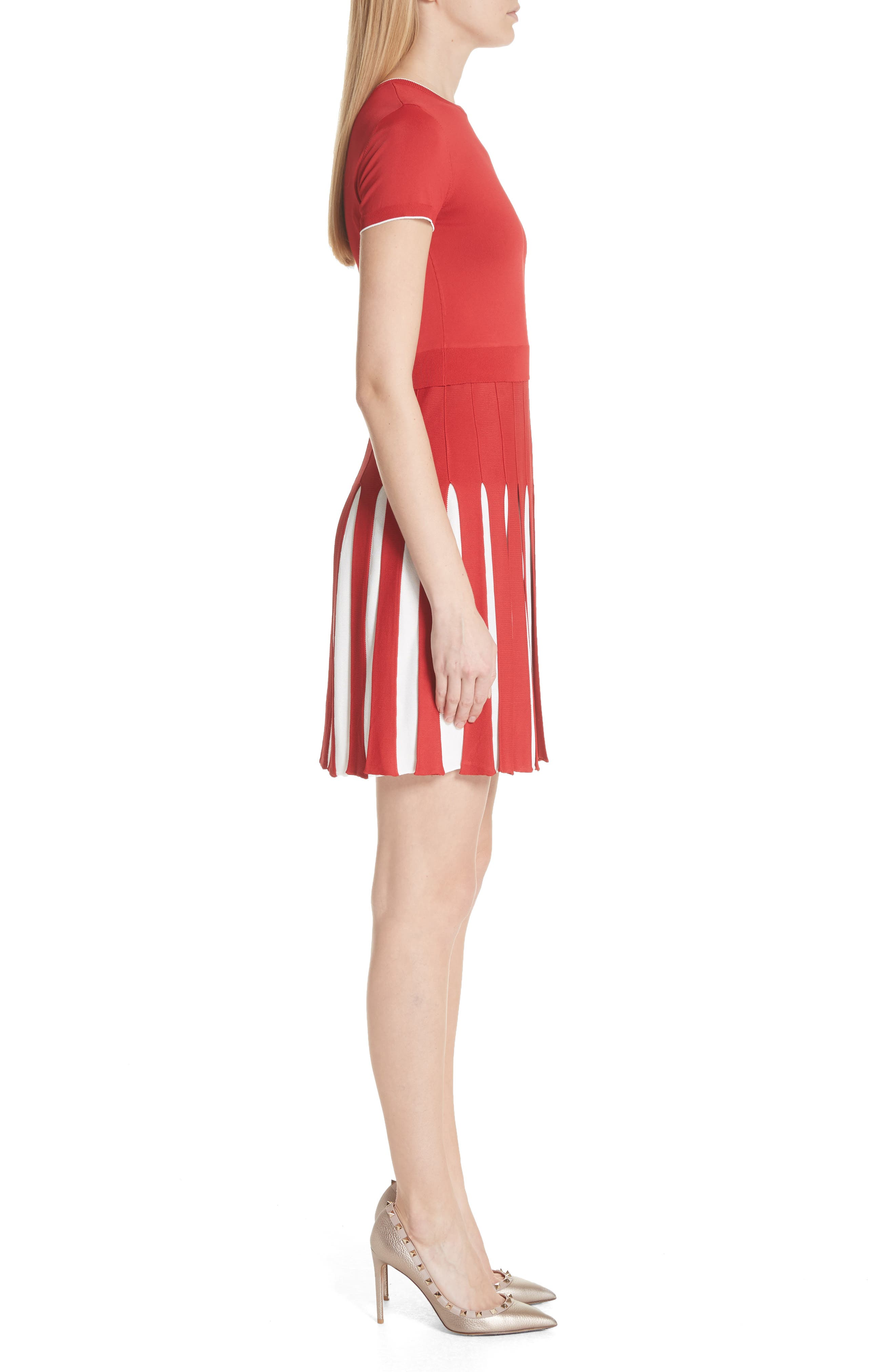 Bicolor Pleated Minidress,                             Alternate thumbnail 3, color,                             Red