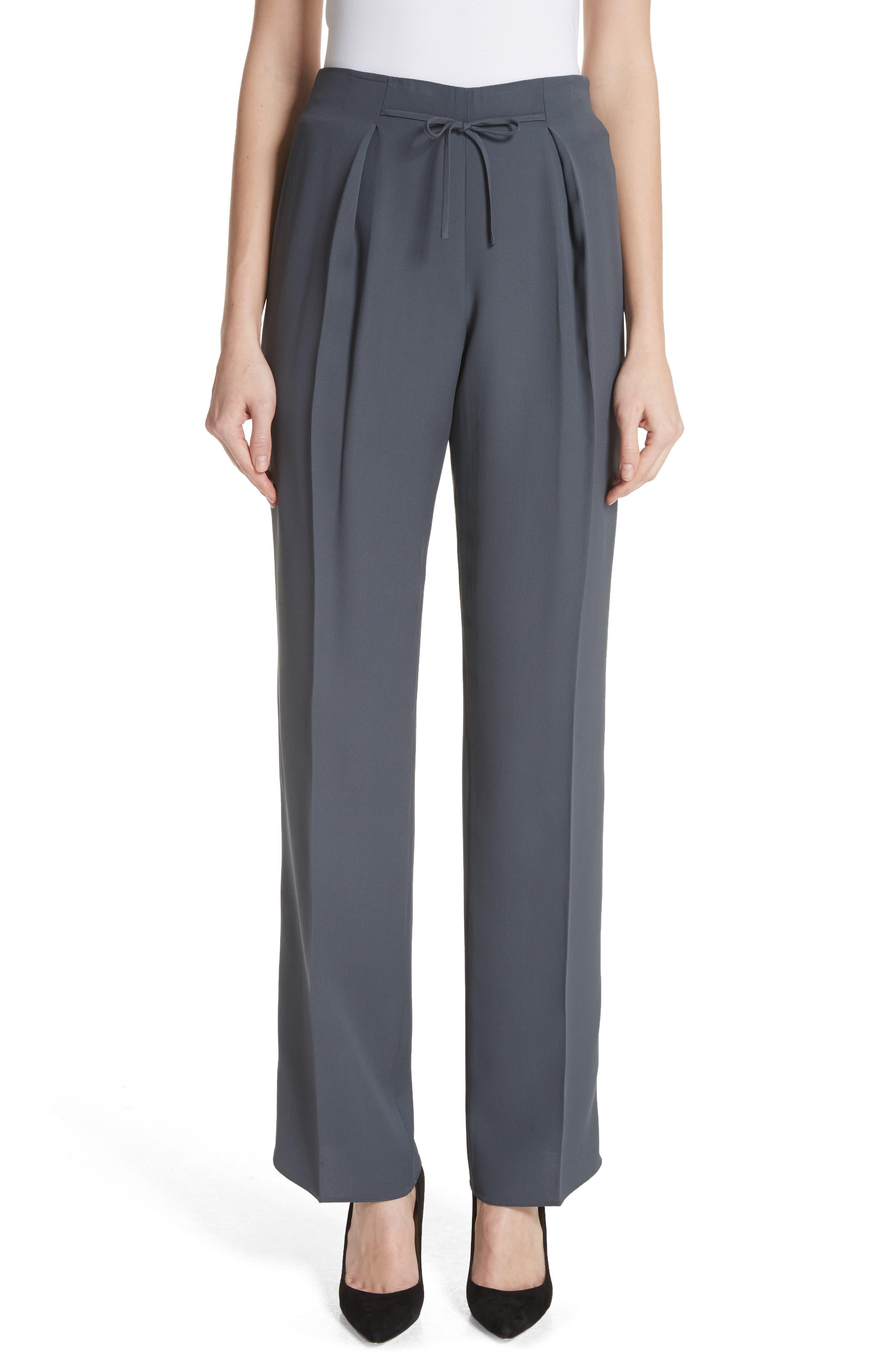Tie Front Silk Pants,                         Main,                         color, Abisso
