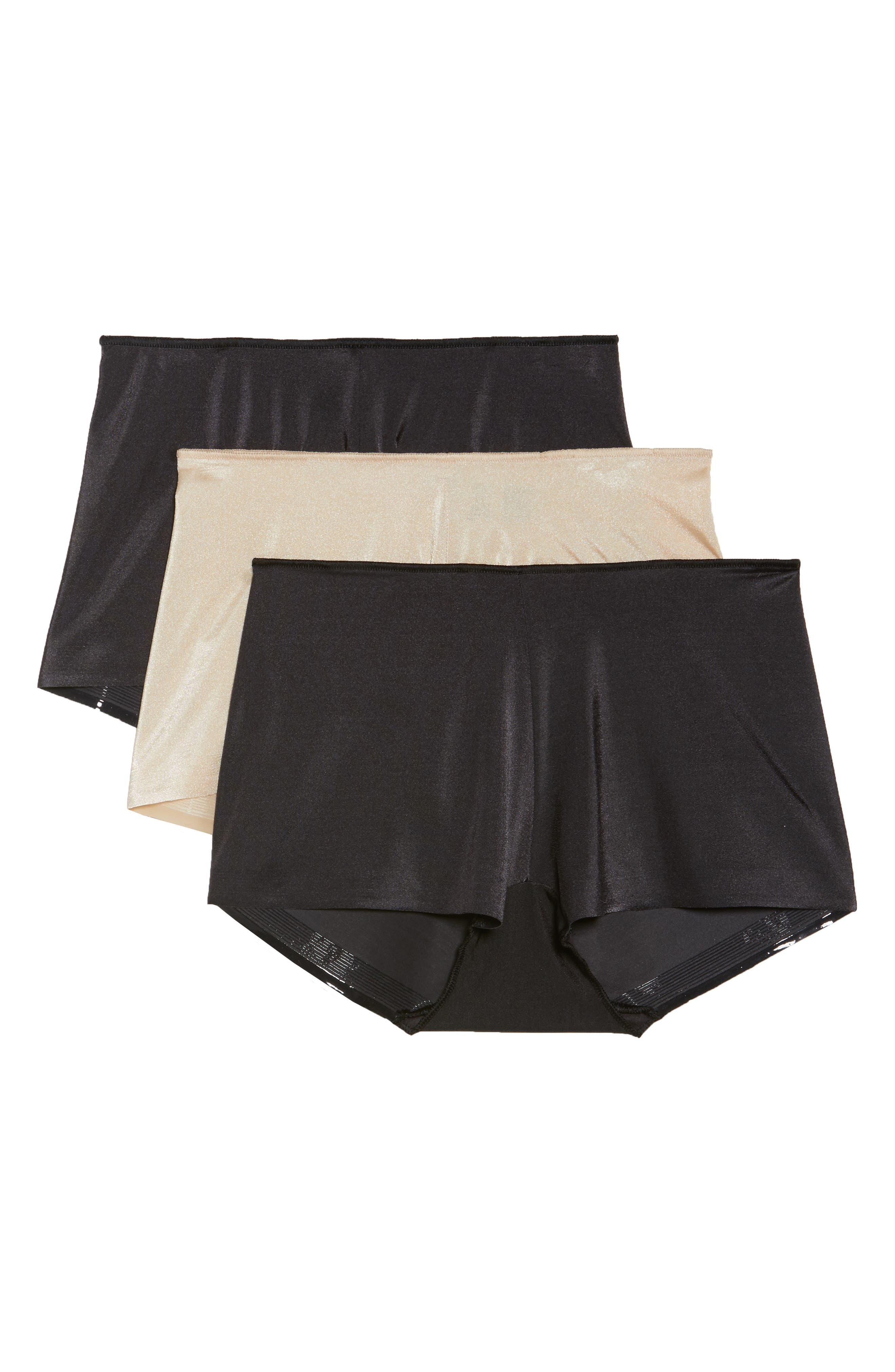 3-Pack High Waist Boyshorts,                         Main,                         color, Black/ Nude