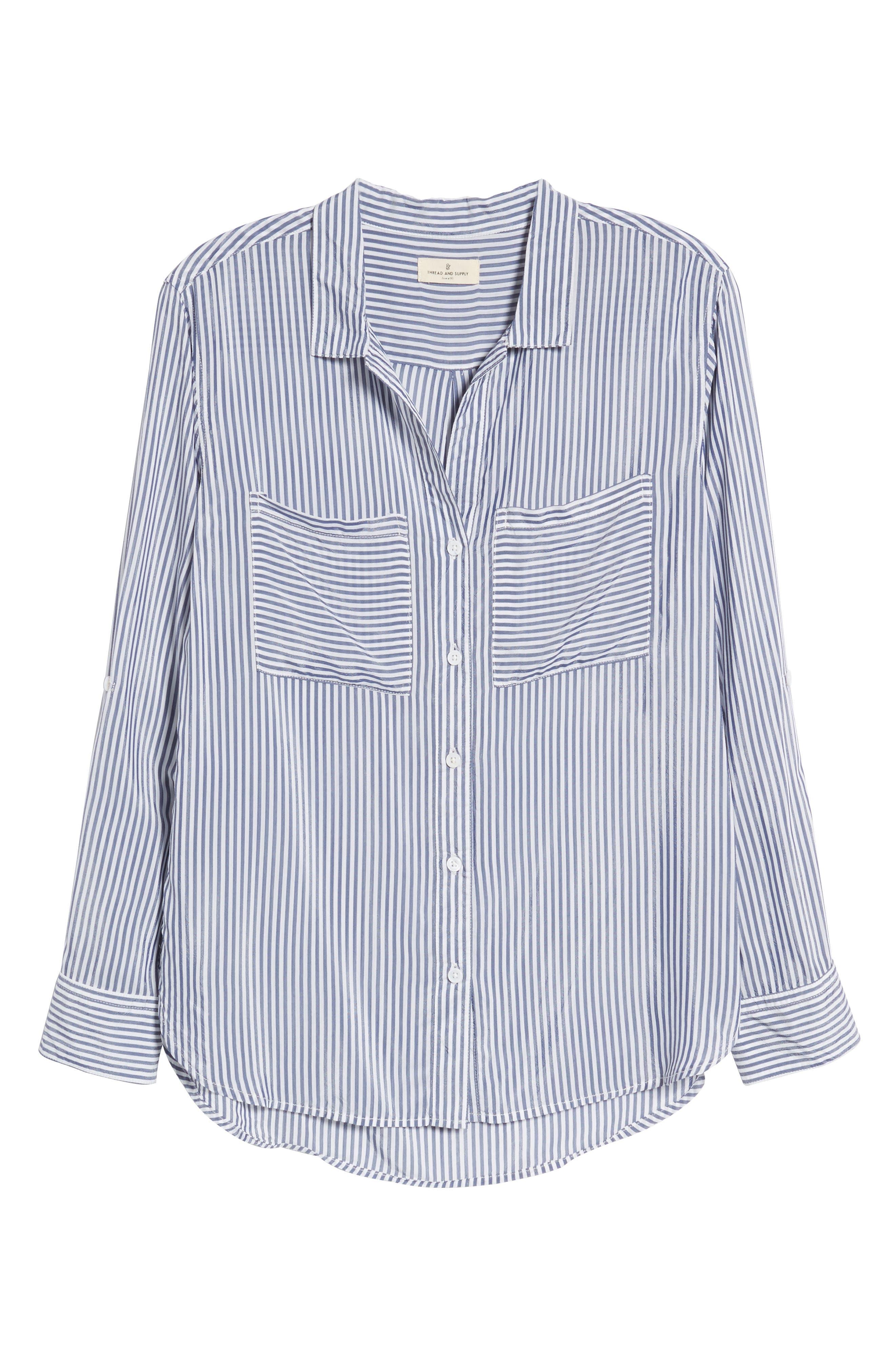 Zinc Stripe Shirt,                             Alternate thumbnail 6, color,                             Blue Stripe