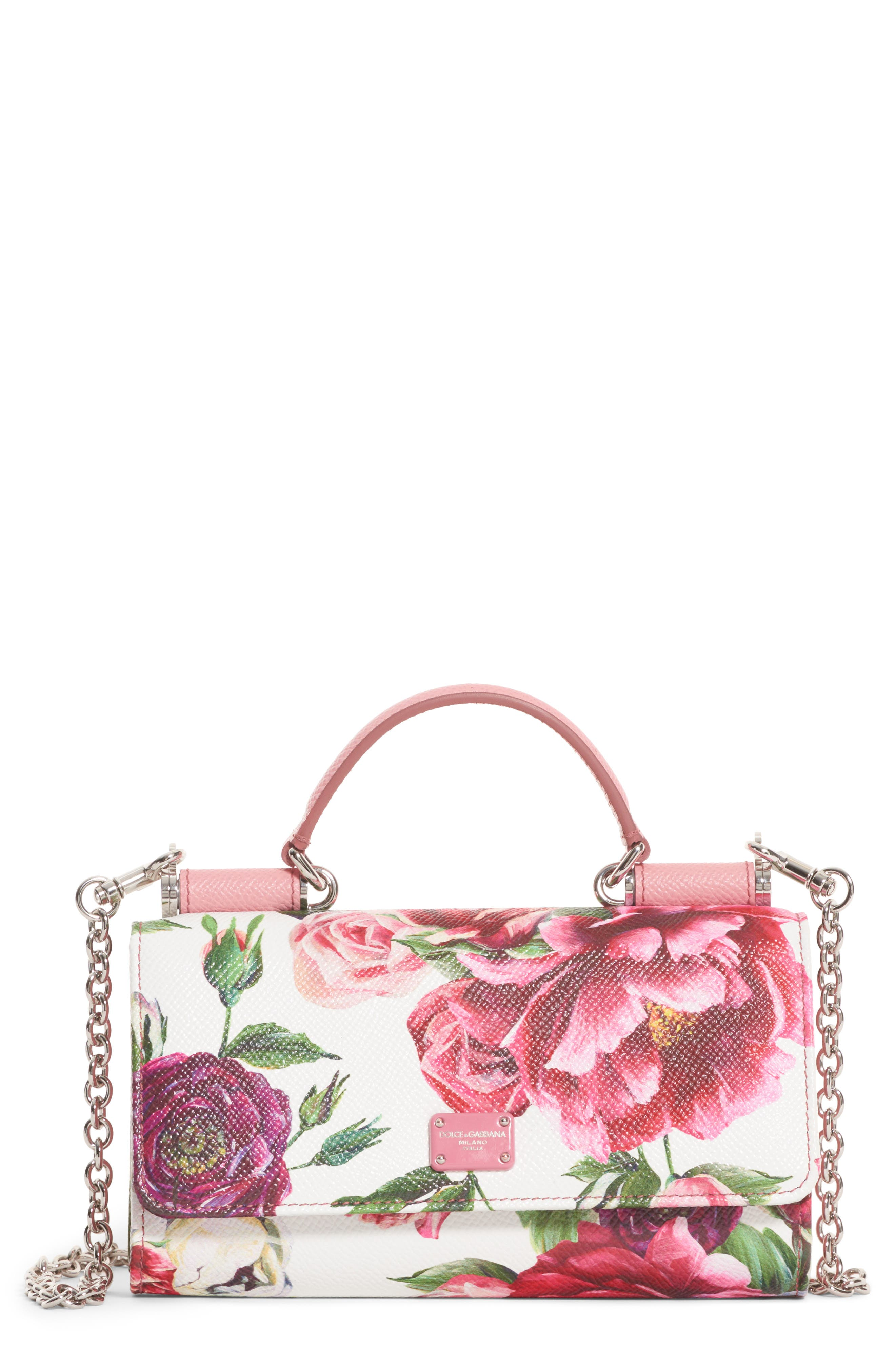Dolce&Gabbana Peony Print Leather Wallet on a Chain
