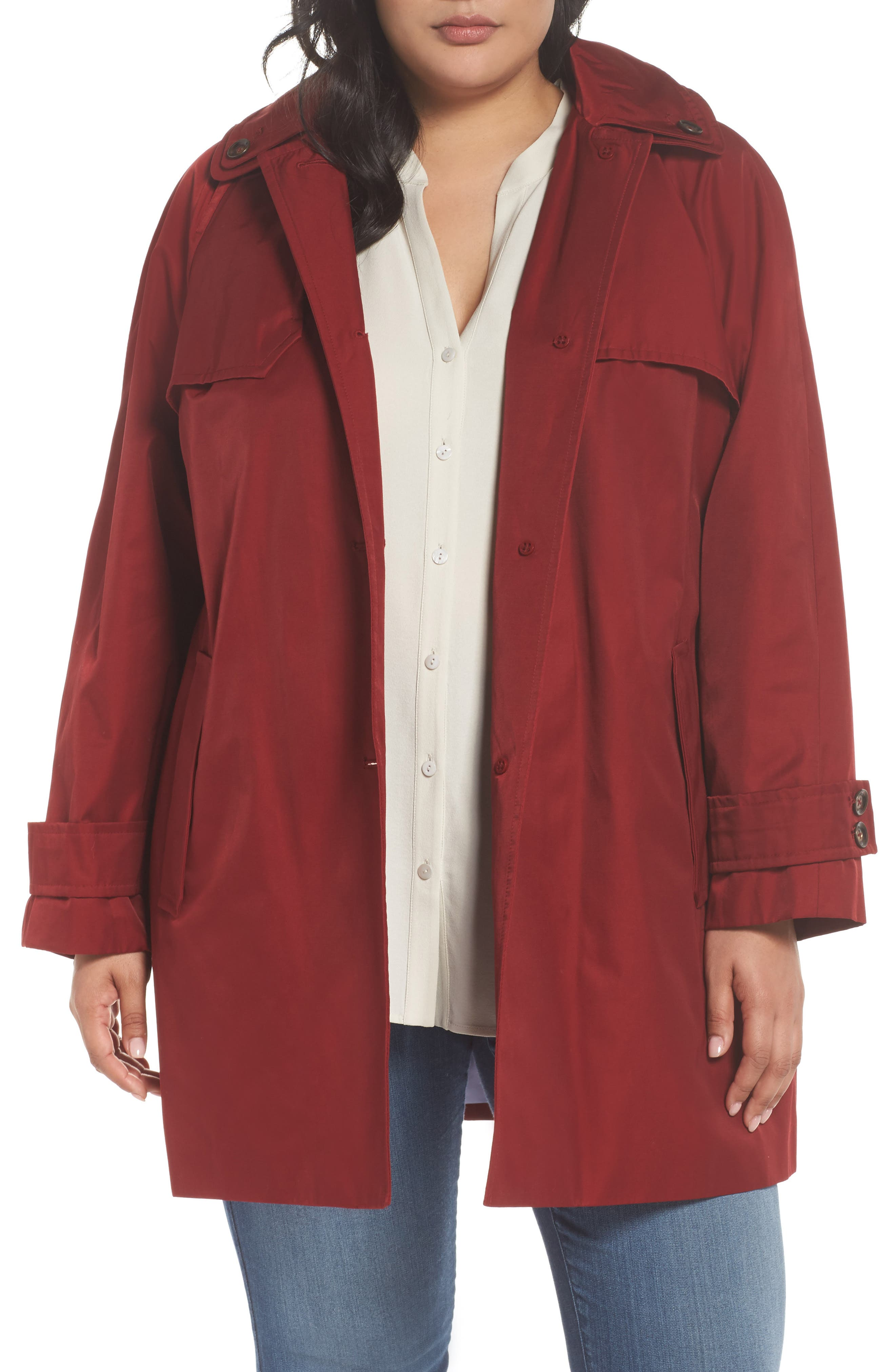 Removable Hood Rain Jacket,                         Main,                         color, Red