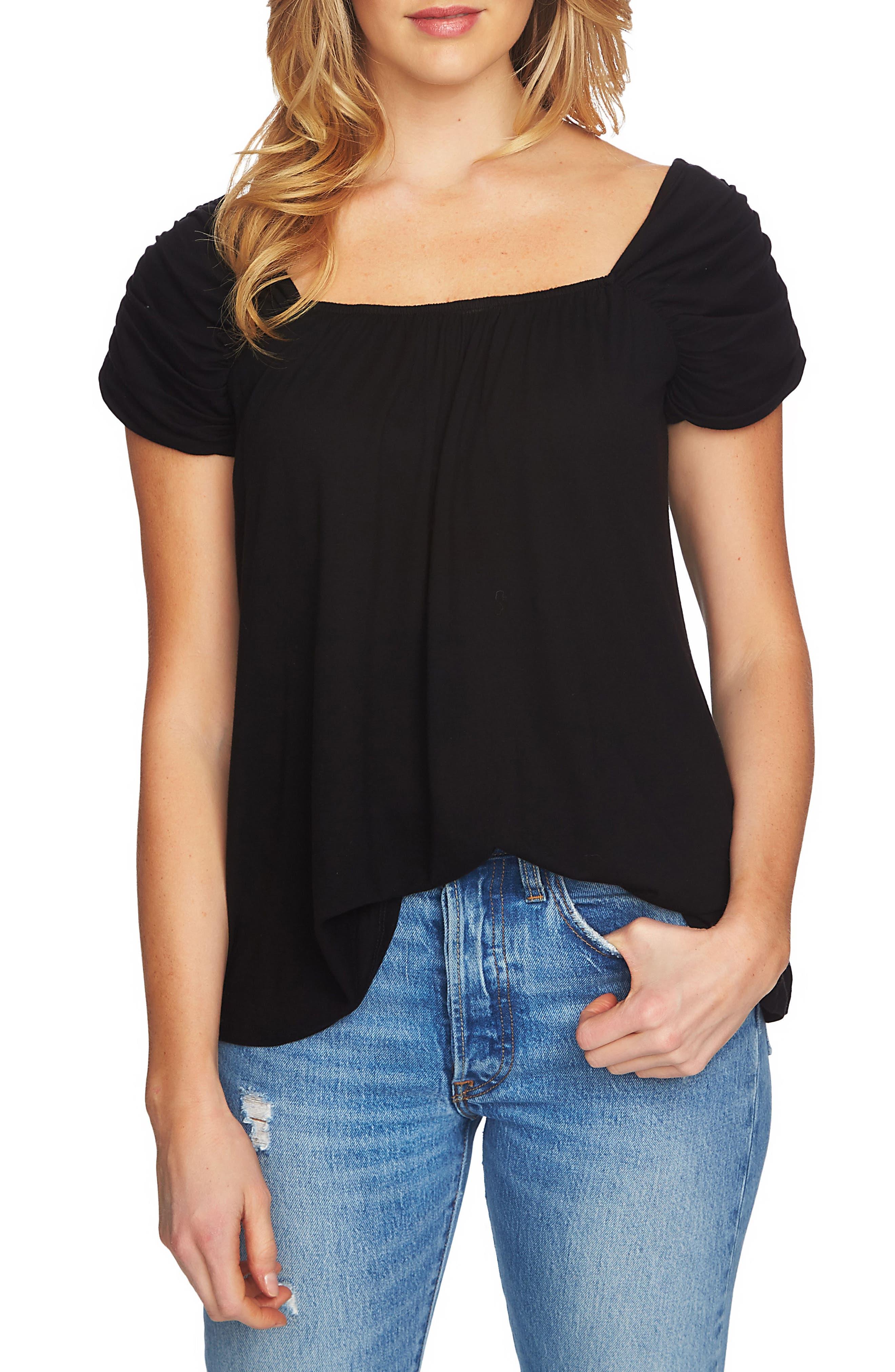 Cinch Sleeve Top,                         Main,                         color, 060-Rich Black