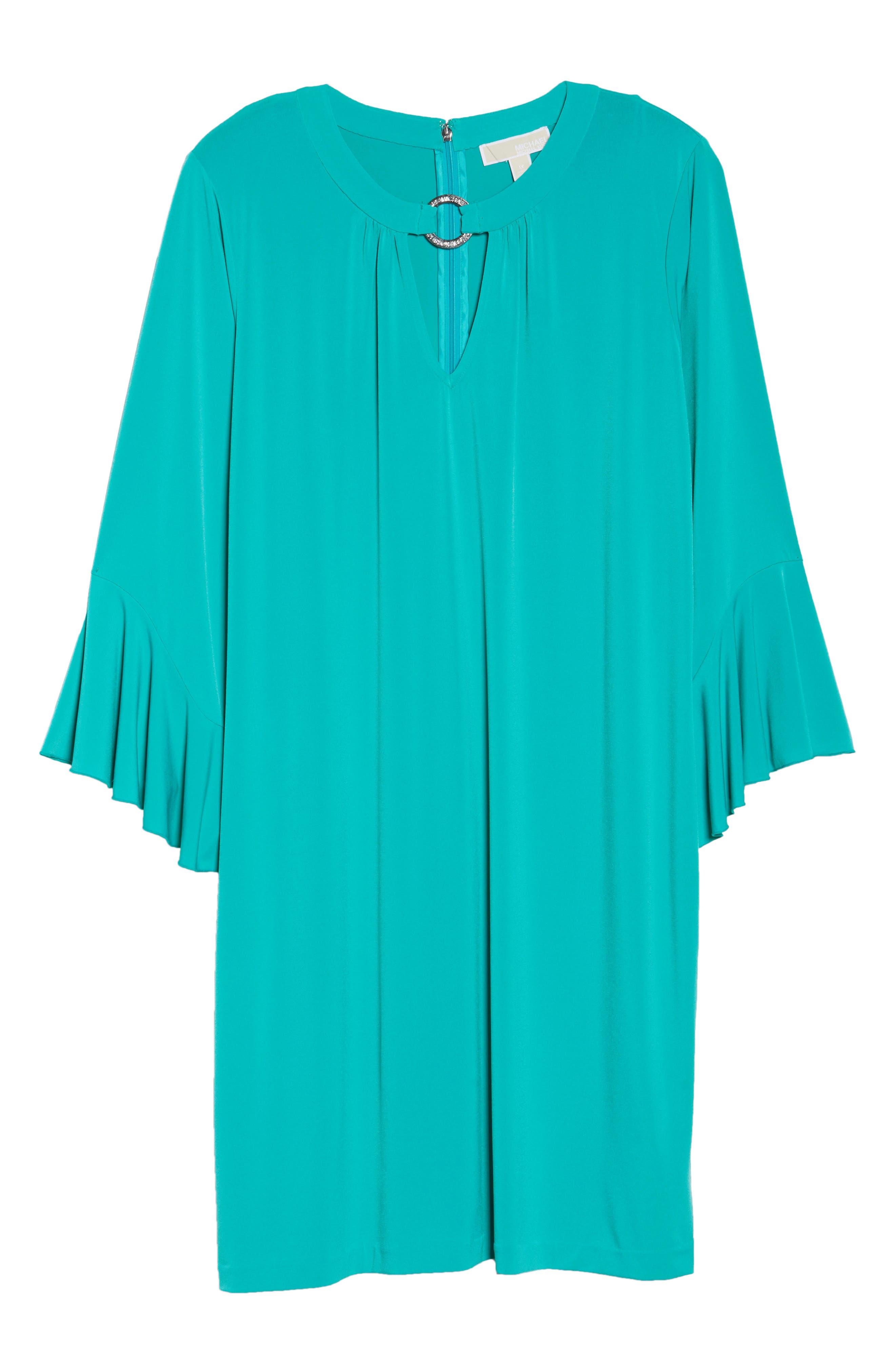 Ring Detail Shift Dress,                             Alternate thumbnail 6, color,                             Tile Blue