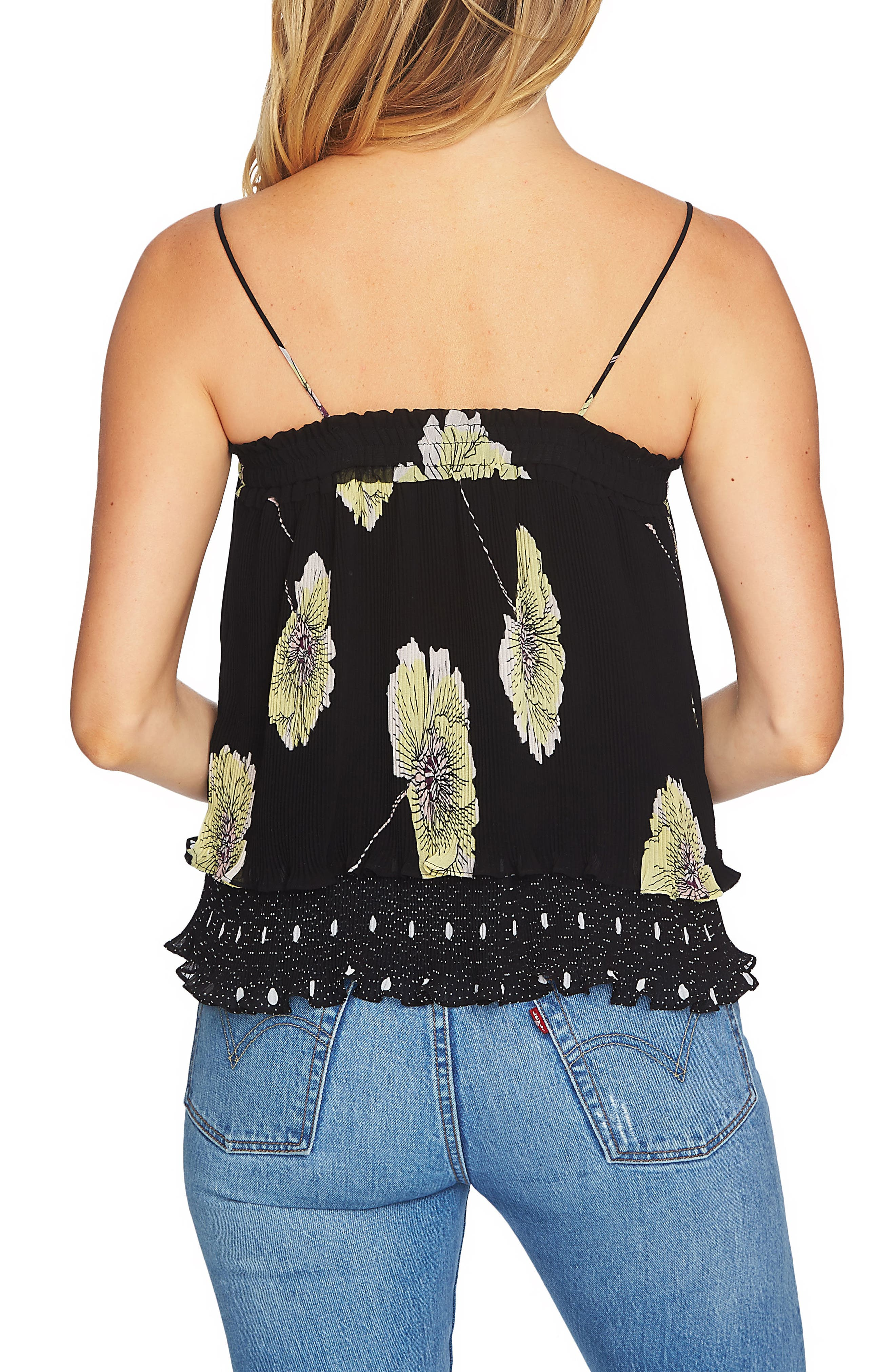 Mixed Print Pleated Camisole,                             Alternate thumbnail 4, color,                             Rich Black