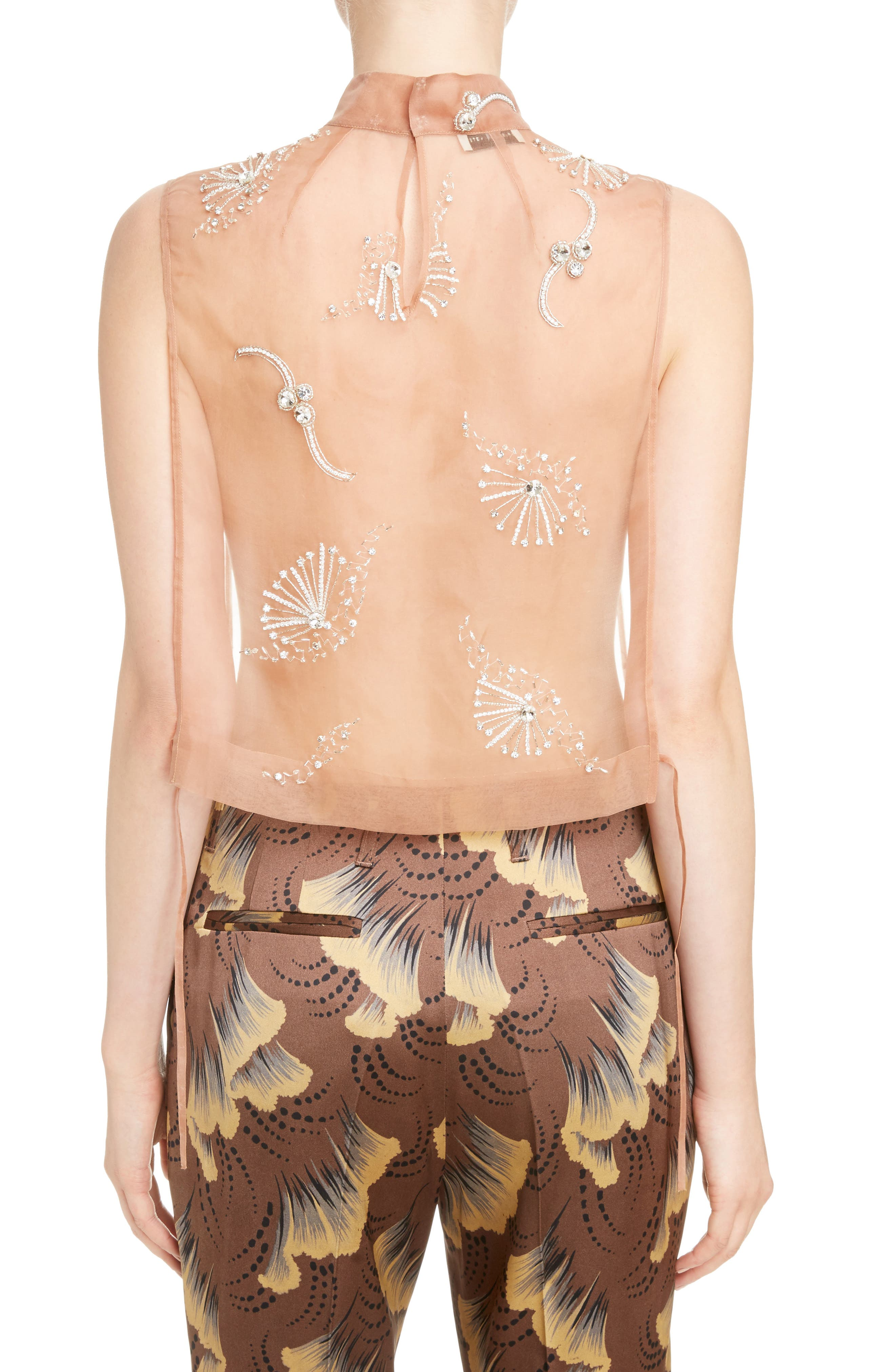 Alternate Image 3  - Dries Van Noten Sheer Embellished Silk Tank