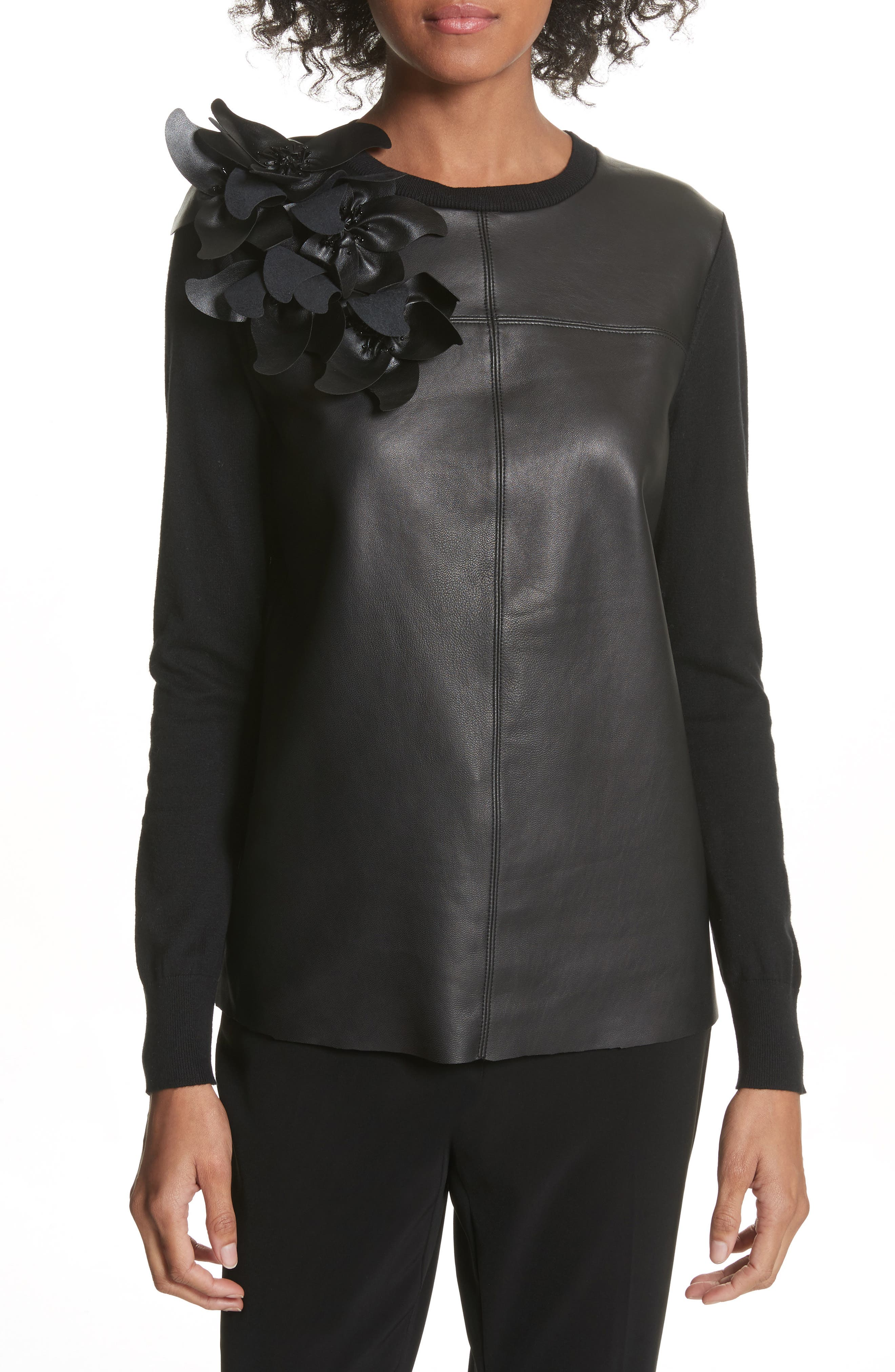Leather Front Sweater,                         Main,                         color, Black