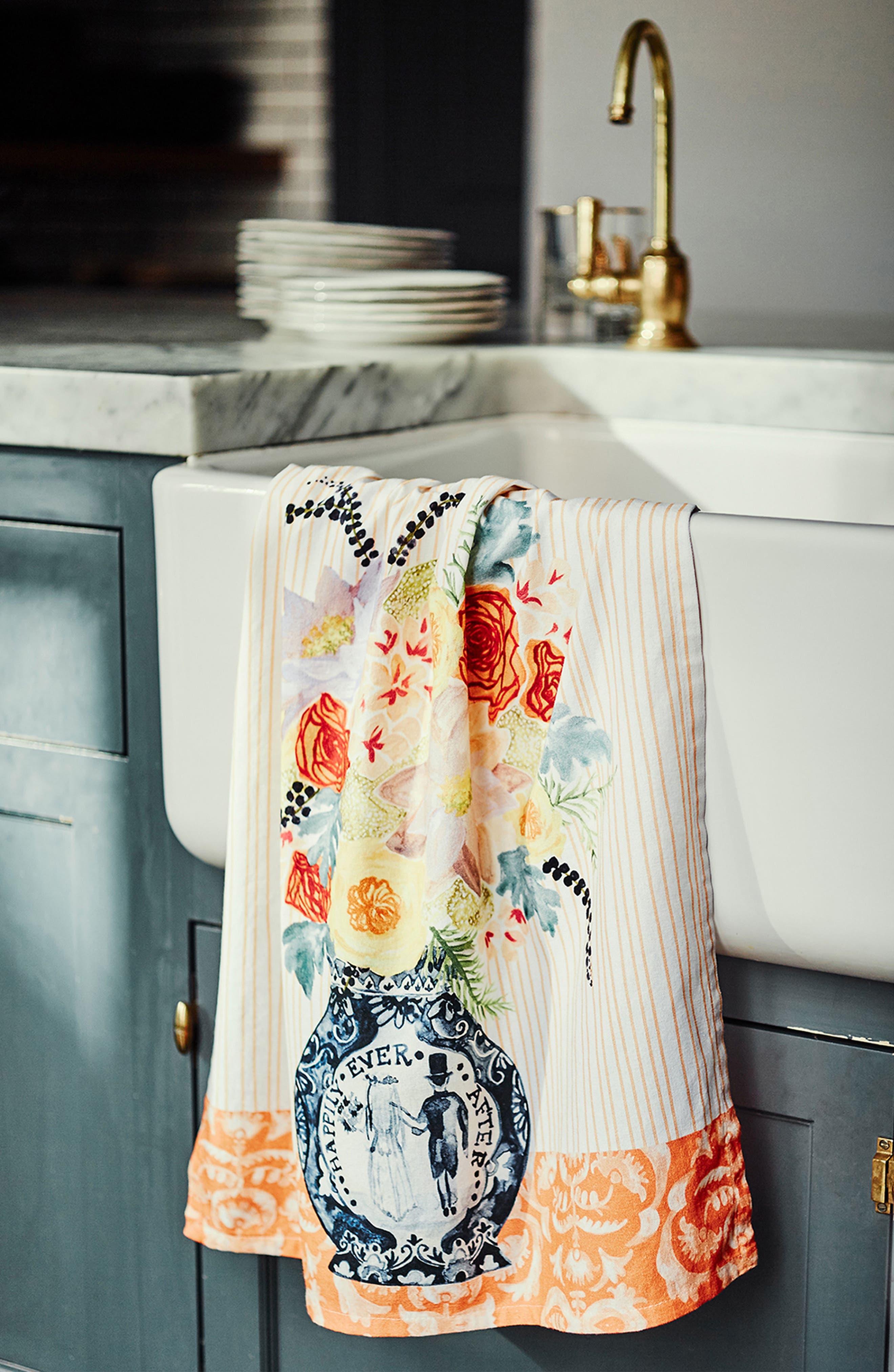 Post-Impressionism Tea Towel,                             Alternate thumbnail 3, color,                             Coral