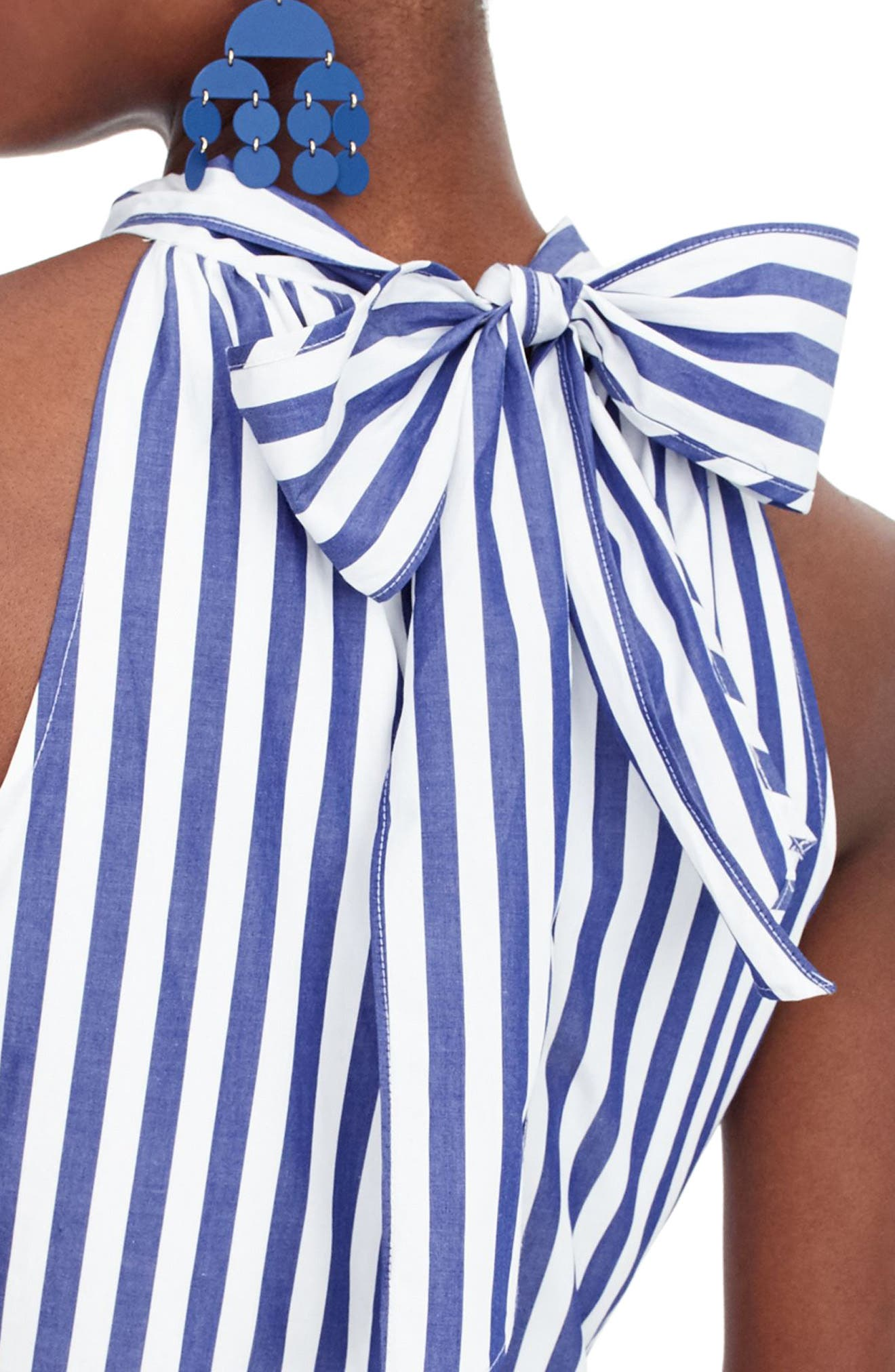 J.Crew Striped Halter Jumpsuit,                             Alternate thumbnail 3, color,                             Tushar Stripe Lighthouse