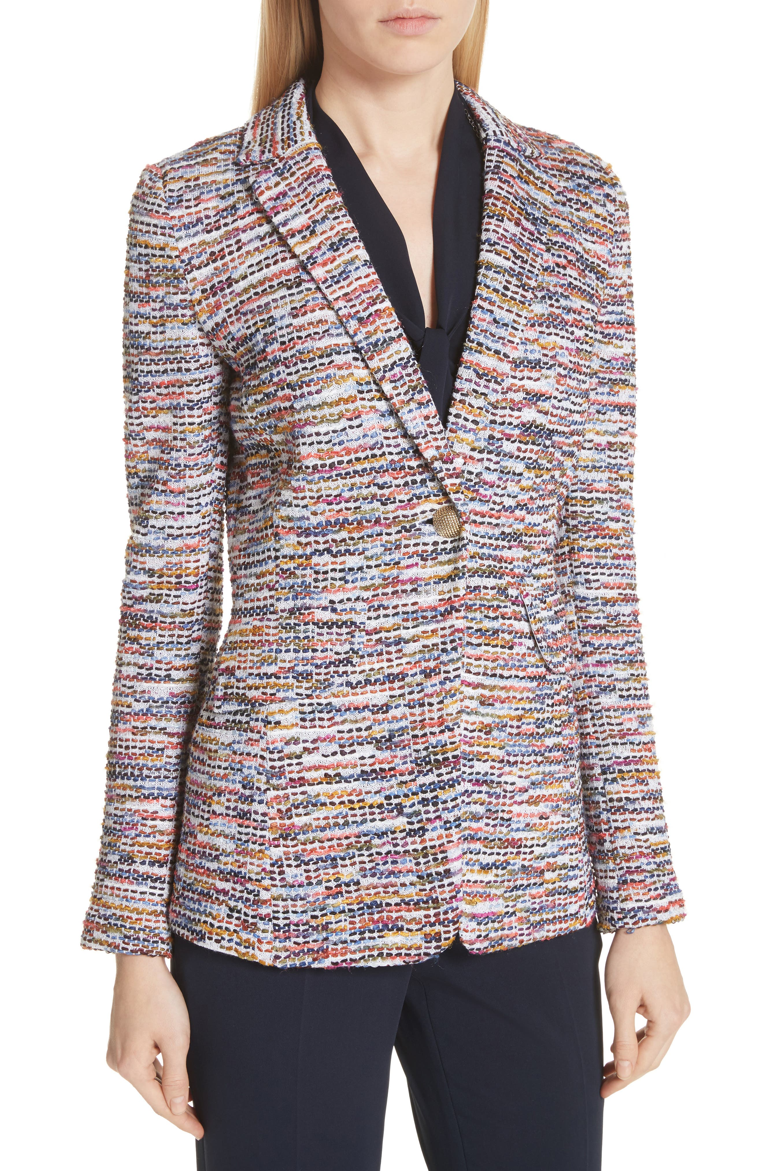 Vertical Fringe Multi Tweed Knit Jacket,                             Alternate thumbnail 4, color,                             Sienna Multi