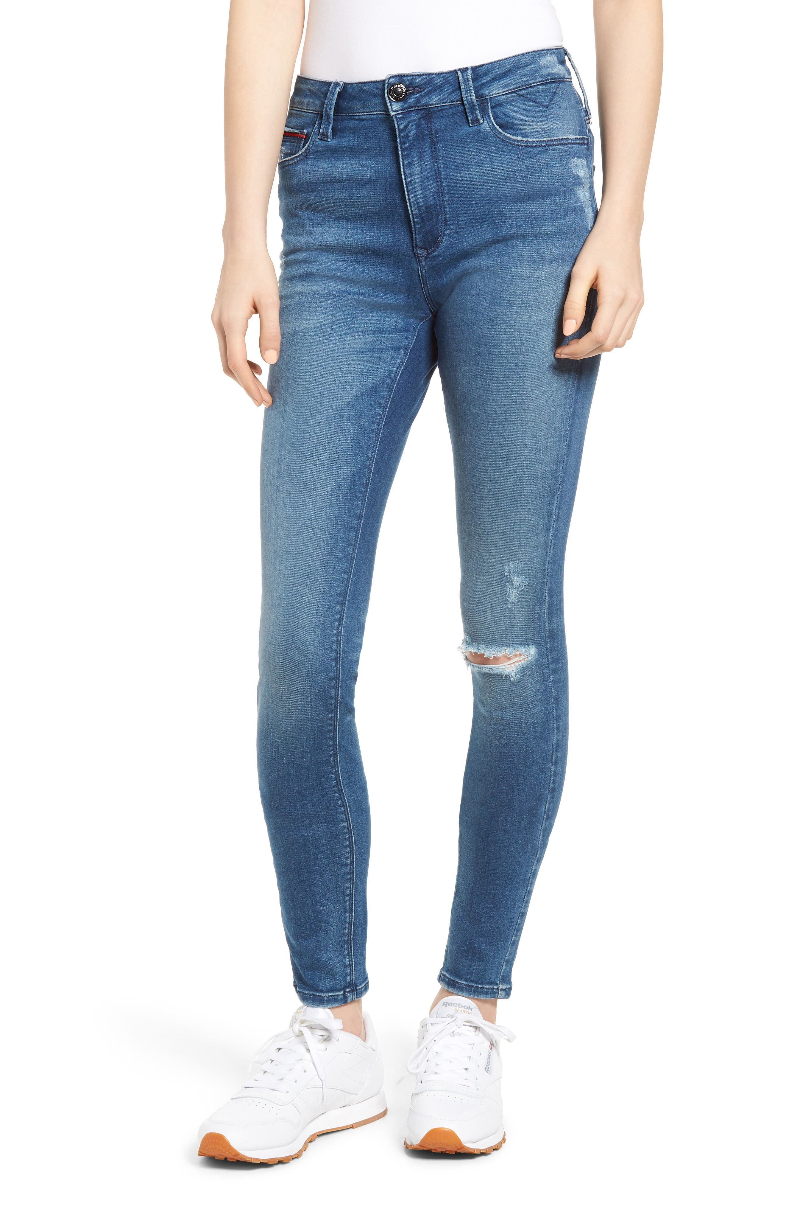 Santana Ripped Skinny Jeans,                             Main thumbnail 1, color,                             Fargo Blue Stretch Destructed