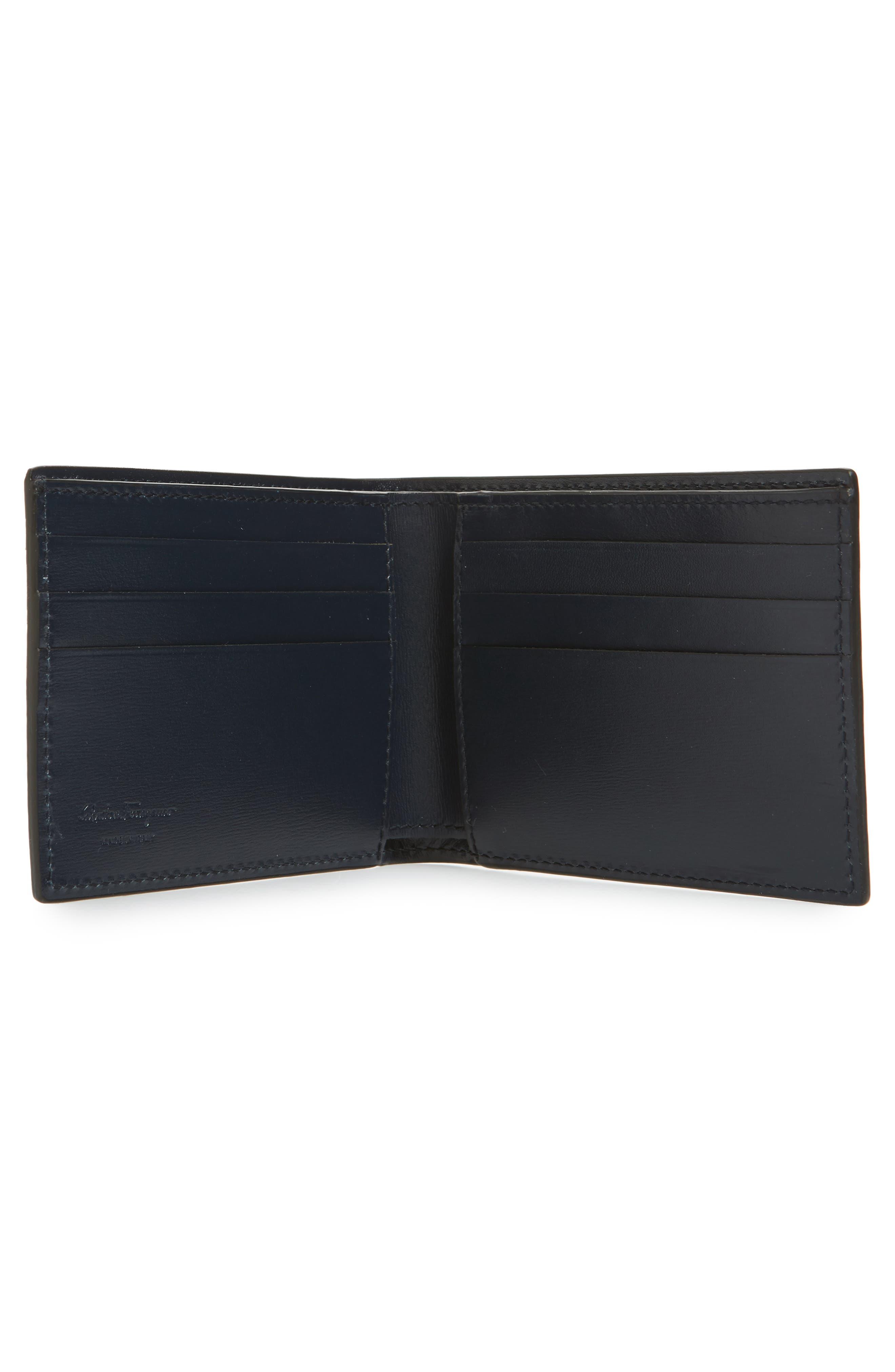 Gancini Leather Card Case,                             Alternate thumbnail 3, color,                             Blue Marine