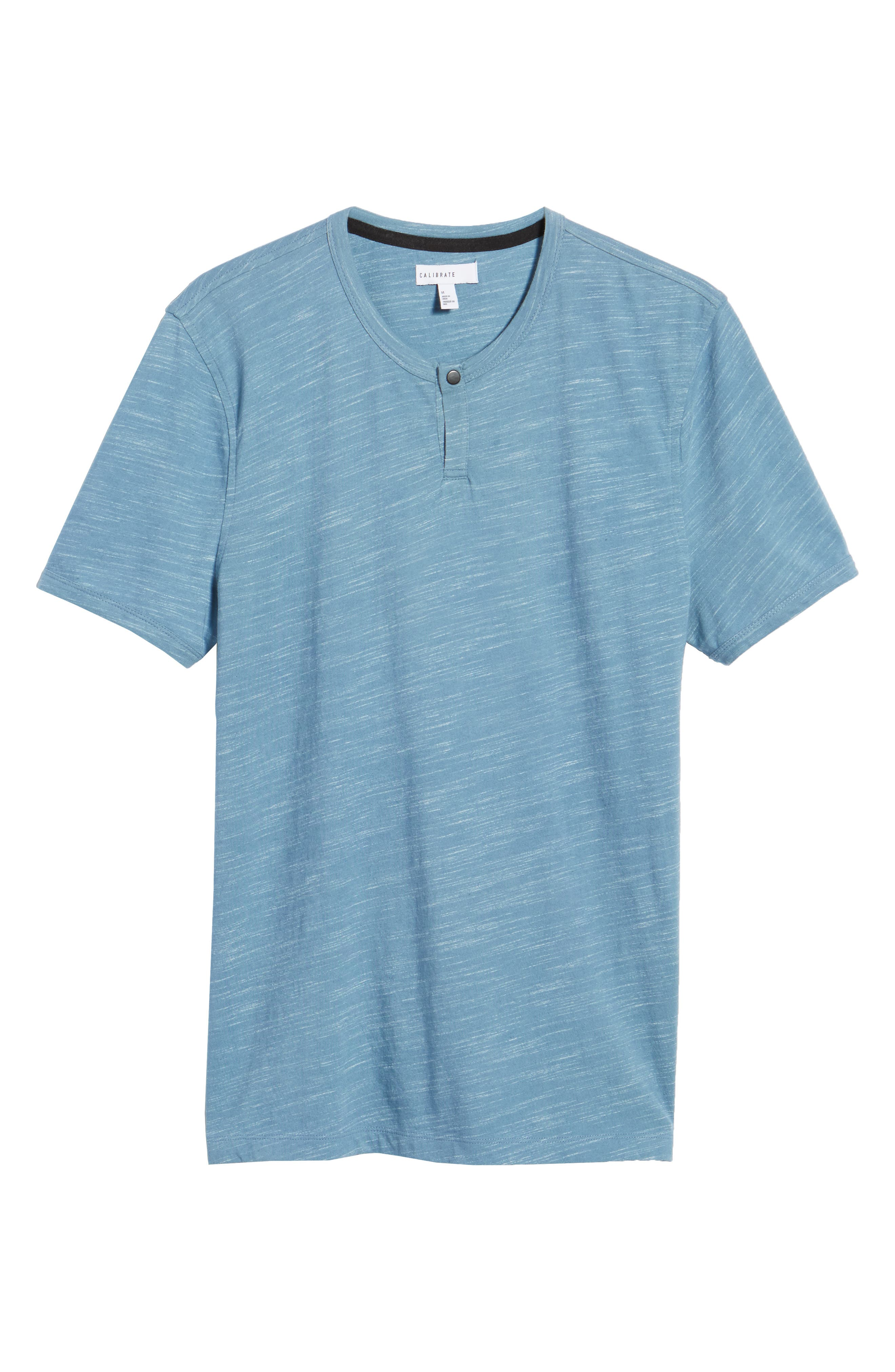 Space Dyed One-Button Henley T-Shirt,                             Alternate thumbnail 6, color,                             Blue Lake Spacedye